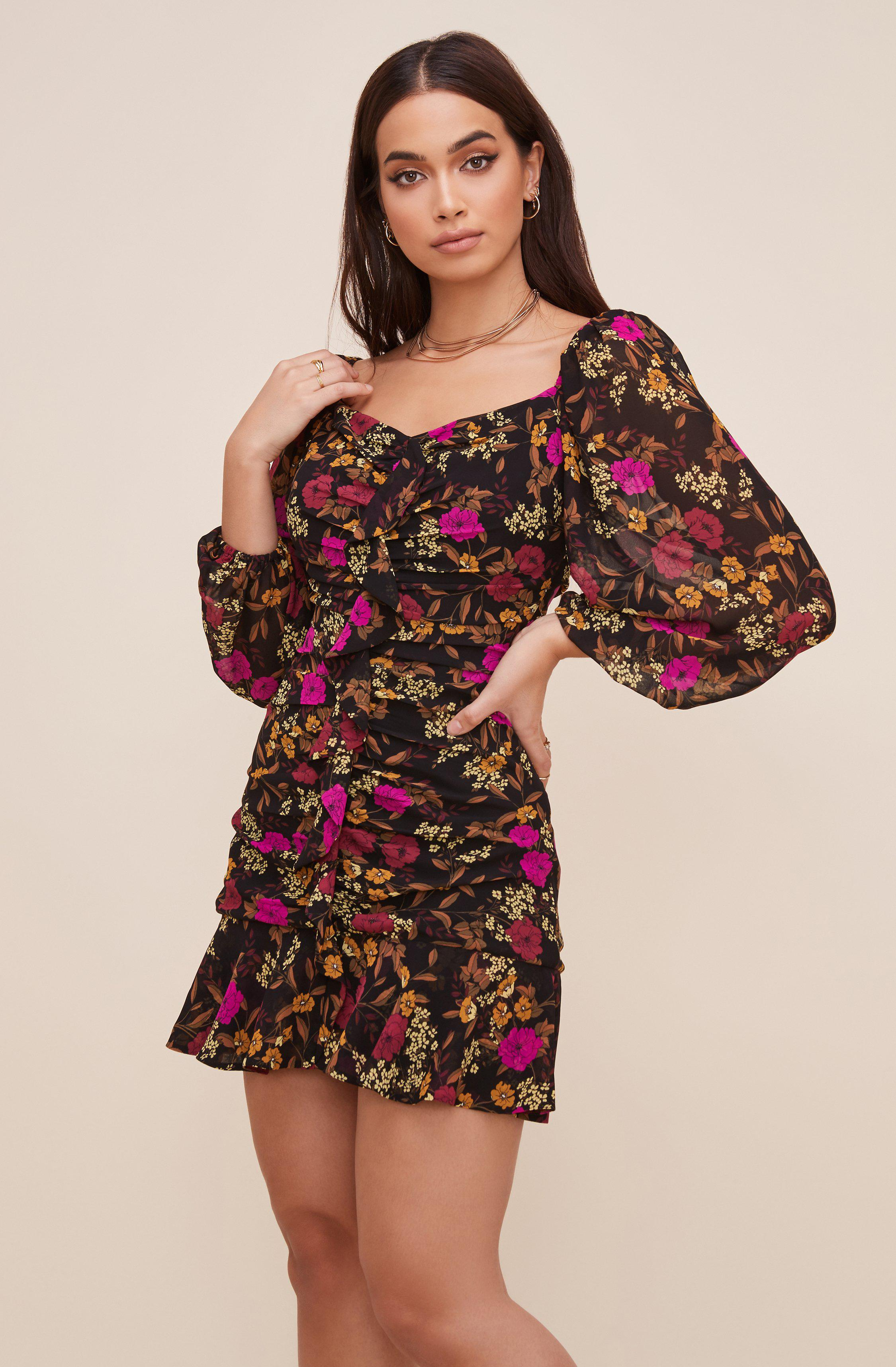 Floral Sweetheart Ruffle Front Dress