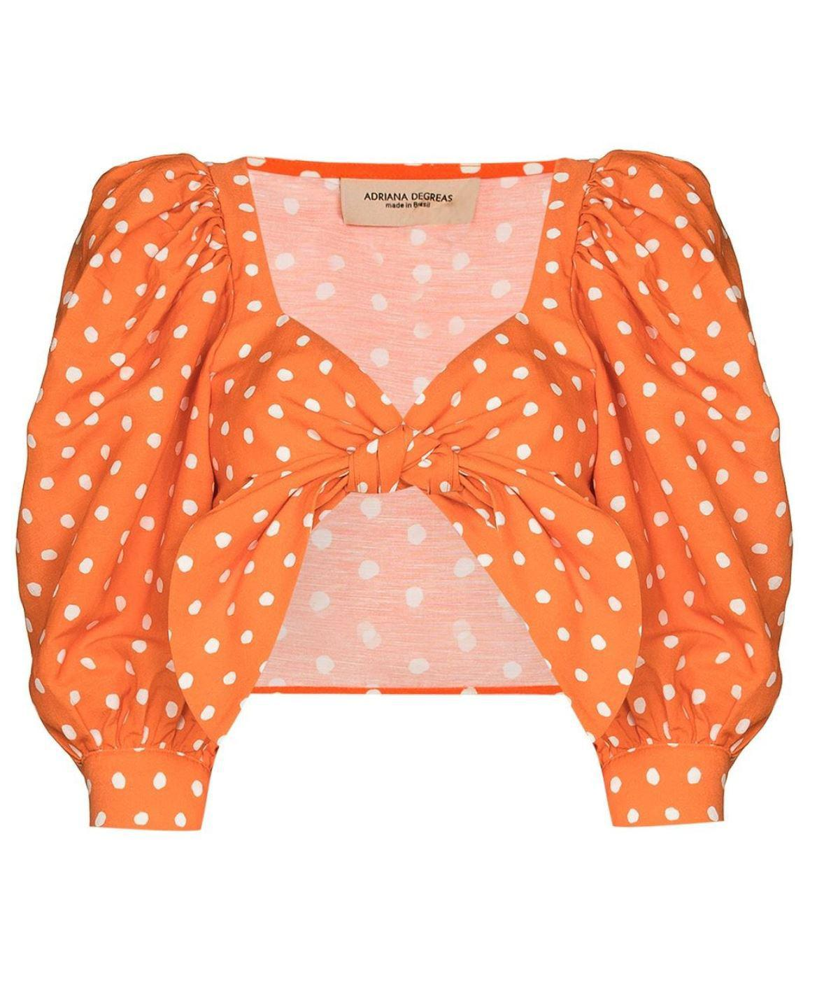 Tangerine Pois Puff-Sleeved Cropped Blouse