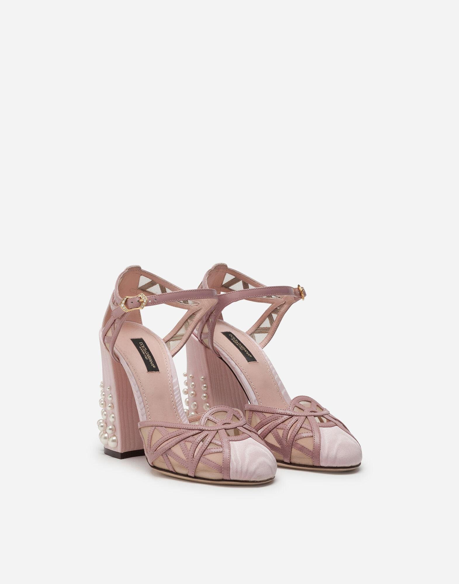 Mixed material ankle strap shoes with pearl embroidery 1