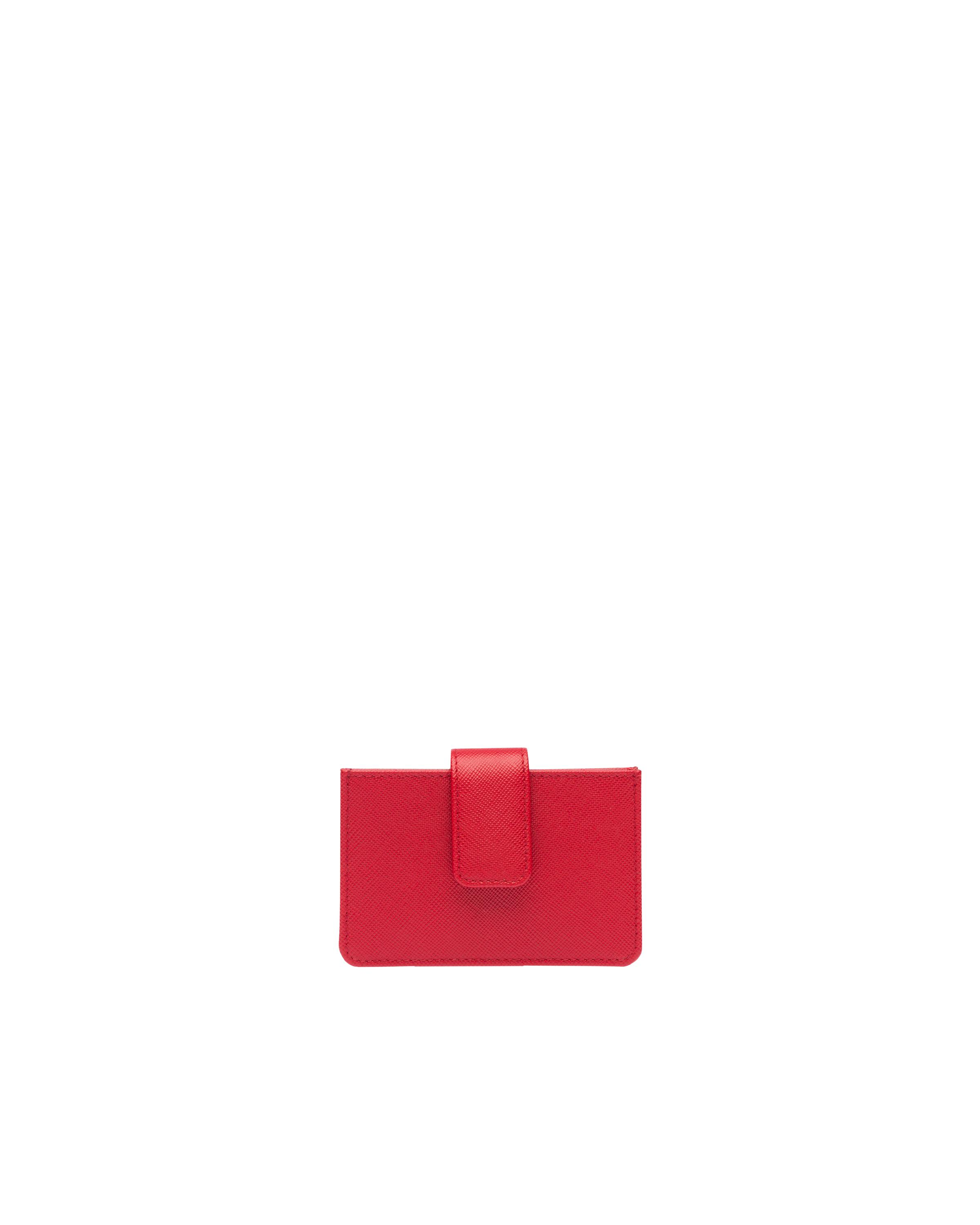 Saffiano Leather Card Holder Women Fiery Red 4