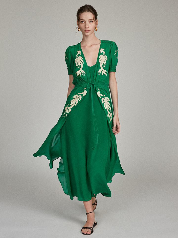 Lea Robe in Emerald with Embroidered Palms