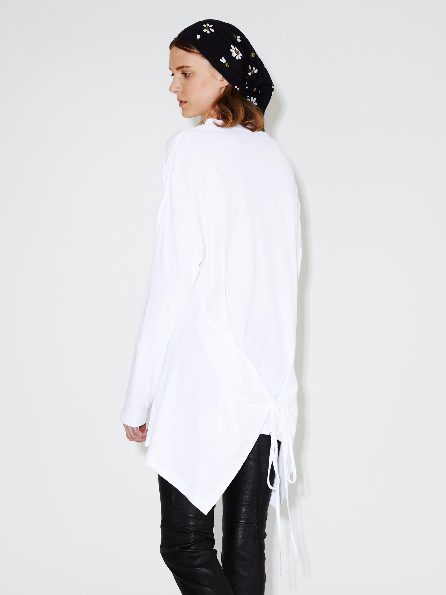 Long Sleeve Apron Front Top