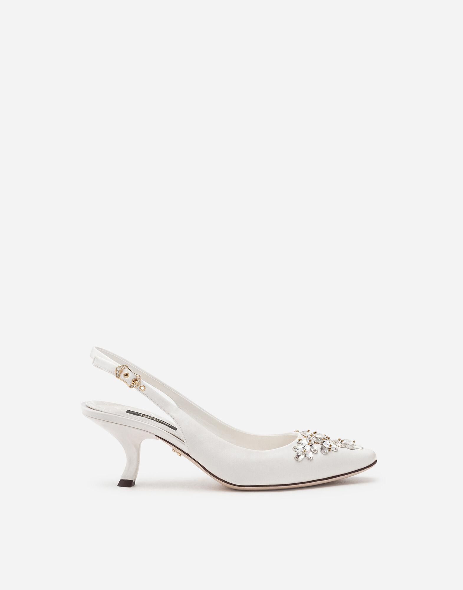 Satin sling back with bejeweled embroidery