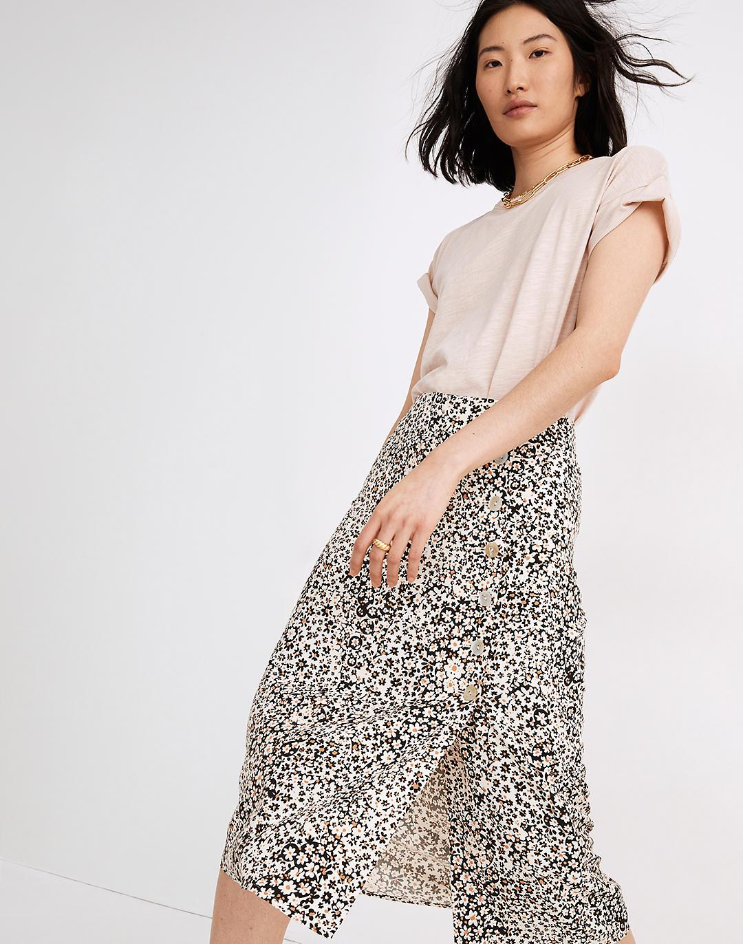 Side-Button Straight Midi Skirt in Daisy Groove