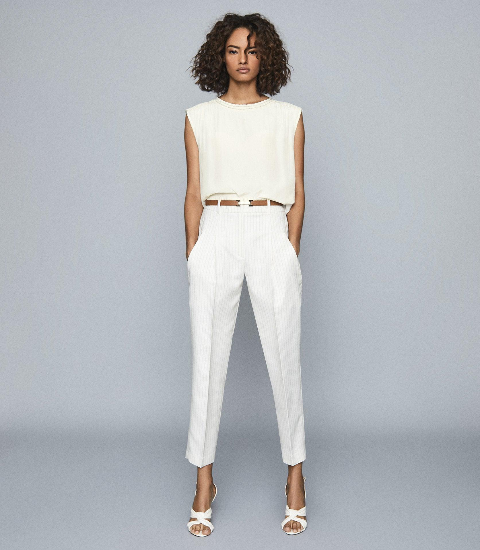 SHELBY - PLEAT FRONT STRIPED TROUSERS
