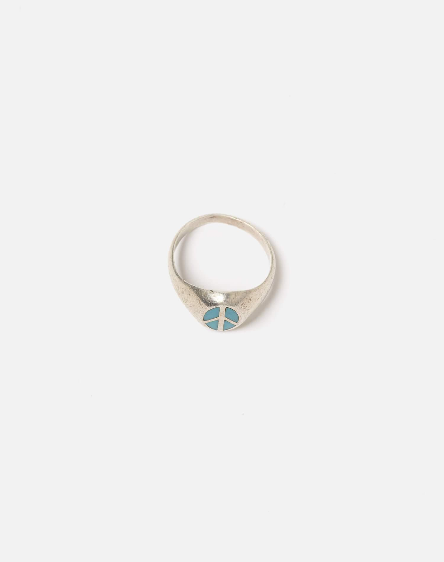 1960s Mexican Sterling Inlaid Turquoise Peace Sign Ring - #101 3