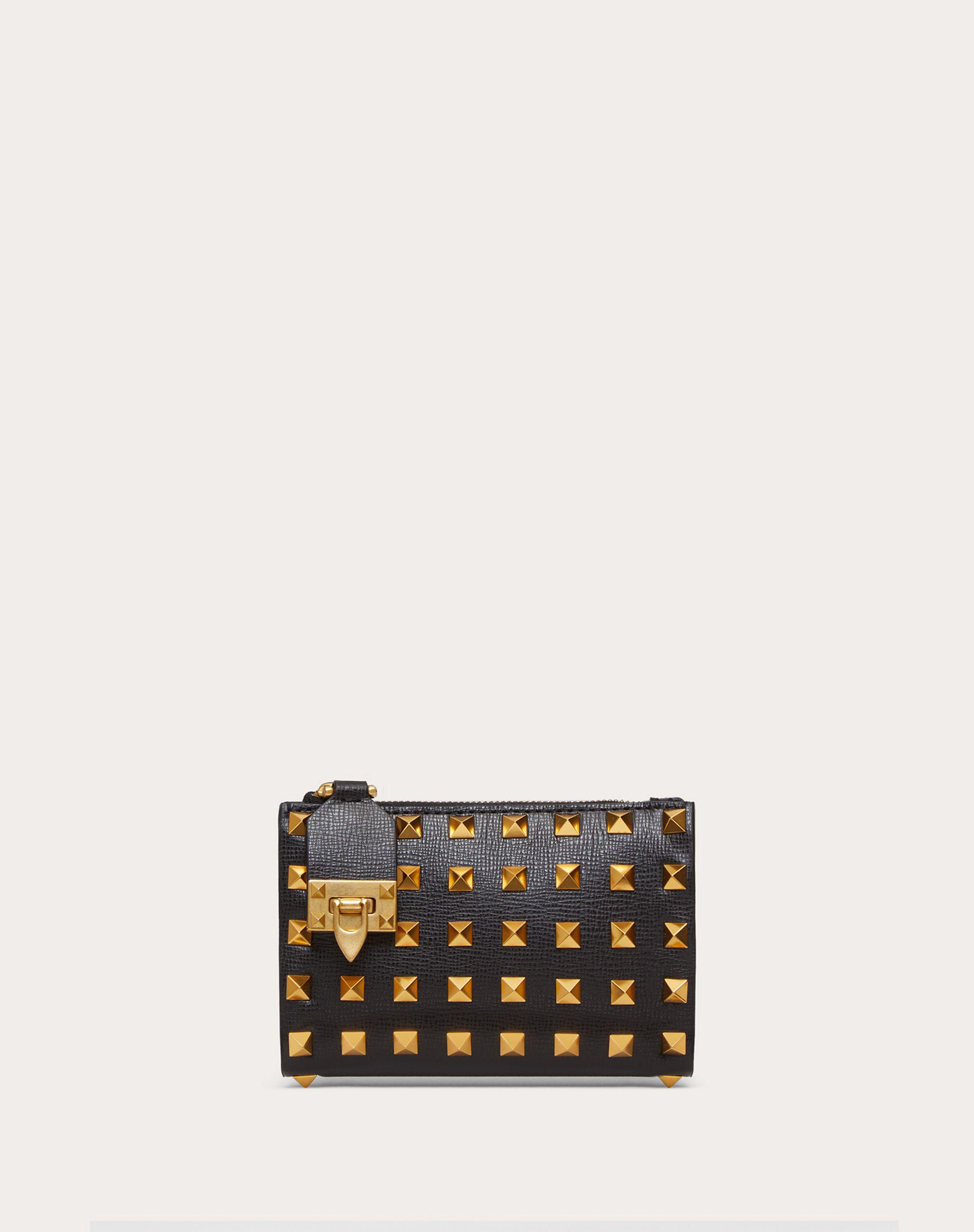 VALENTINO GARAVANI ROCKSTUD COIN PURSE AND CARDHOLDER IN GRAINY CALFSKIN LEATHER WITH ALL-OVER STUDS