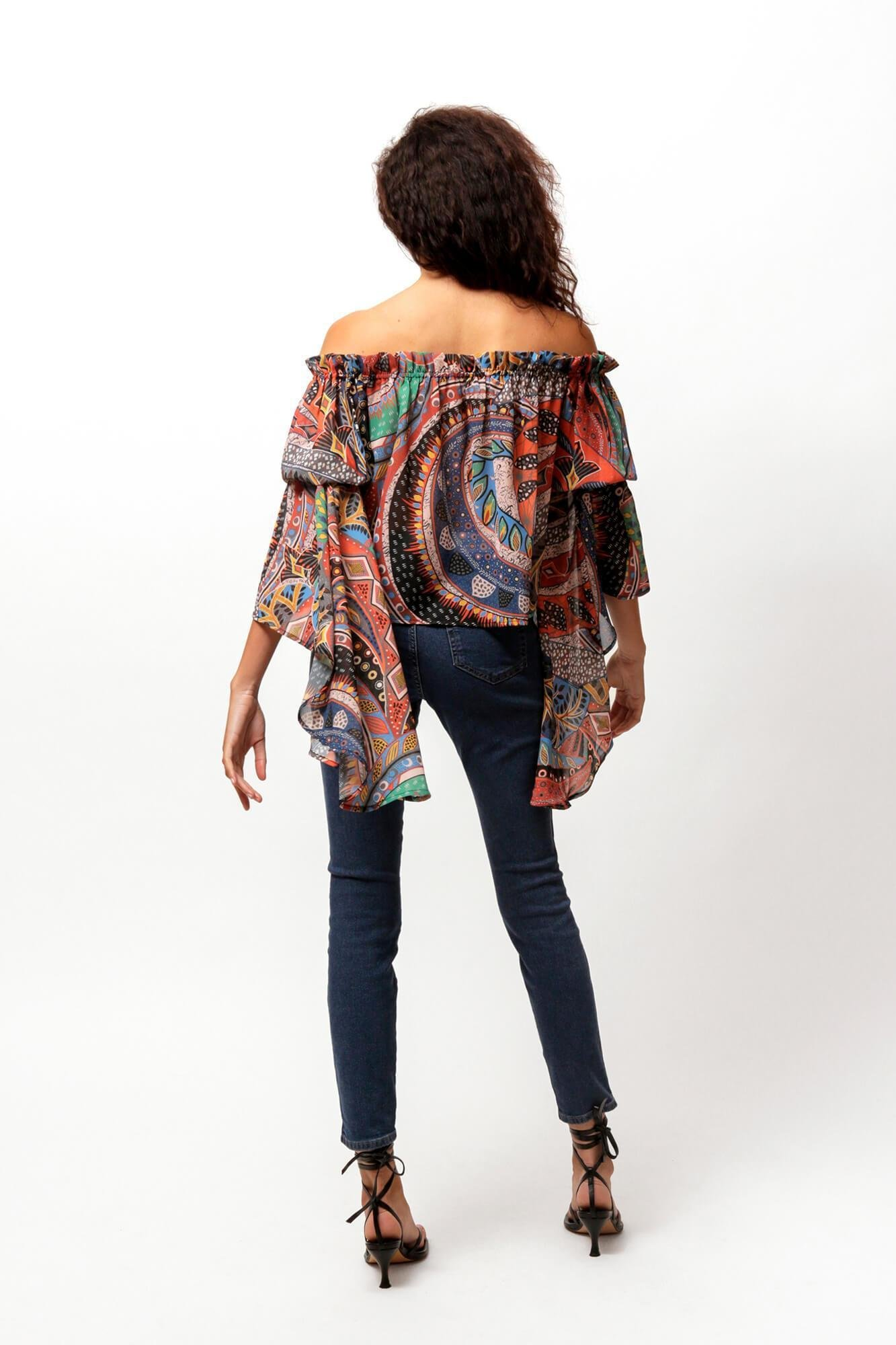 Ethnic Print Brittney Off The Shoulder Bell Sleeve Top 2