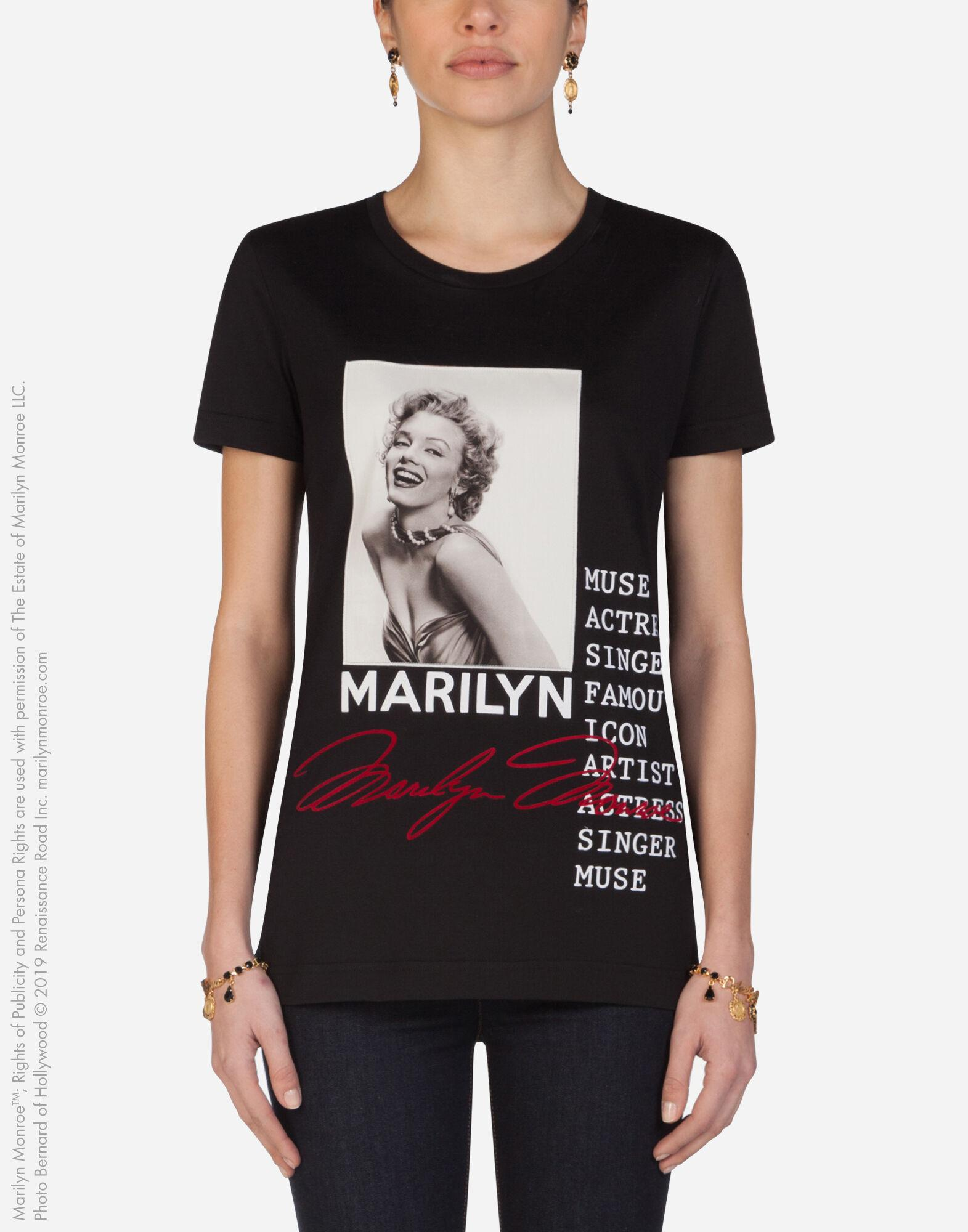Jersey t-shirt with marilyn monroe print and embroidery