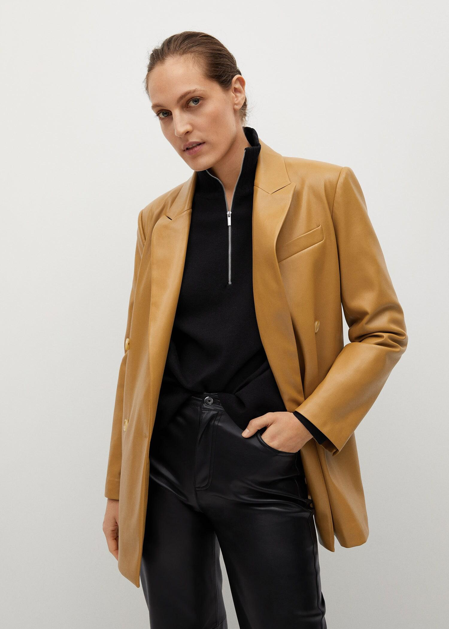 Faux-leather double-breasted blazer 5