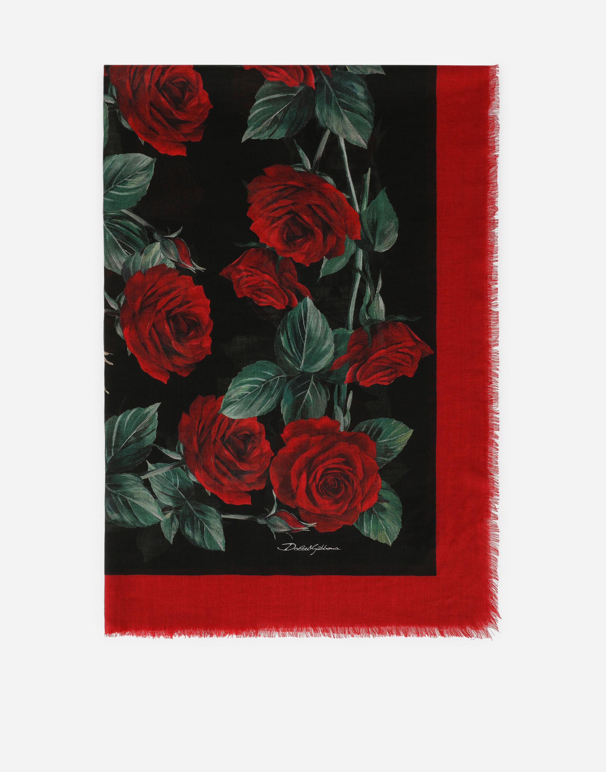 Rose-print silk and cashmere scarf (140 x 140)