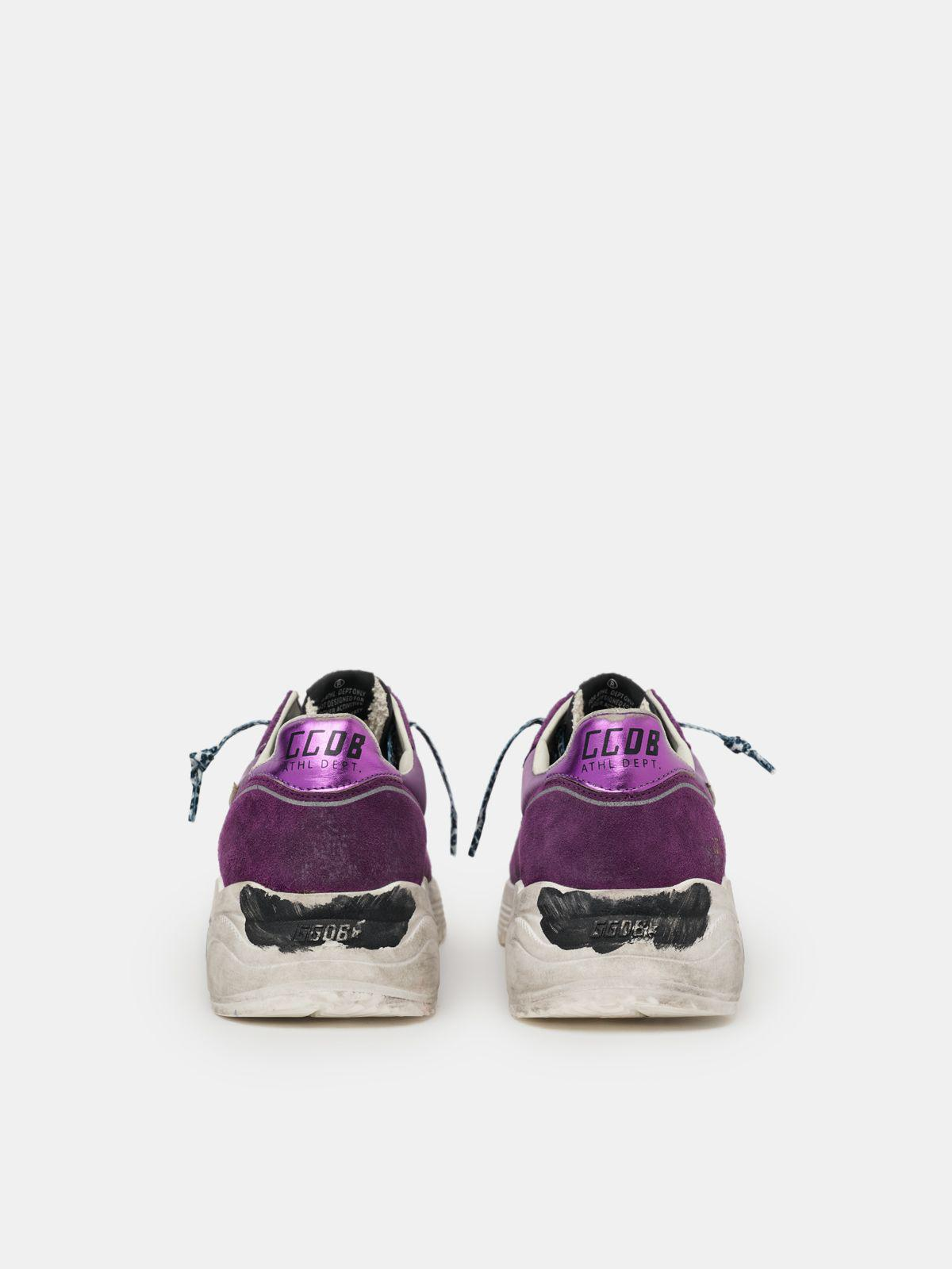 Suede, leather and mesh Running Sole sneakers with metallic purple heel tab 1