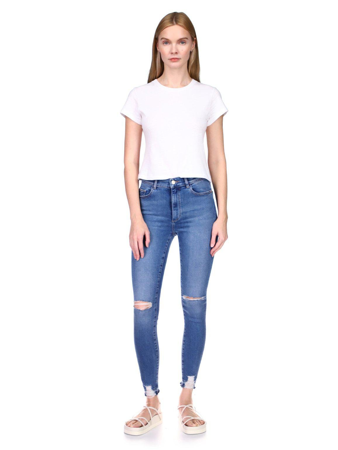 Farrow Skinny High Rise Instasculpt Ankle | Rip Tide Distressed