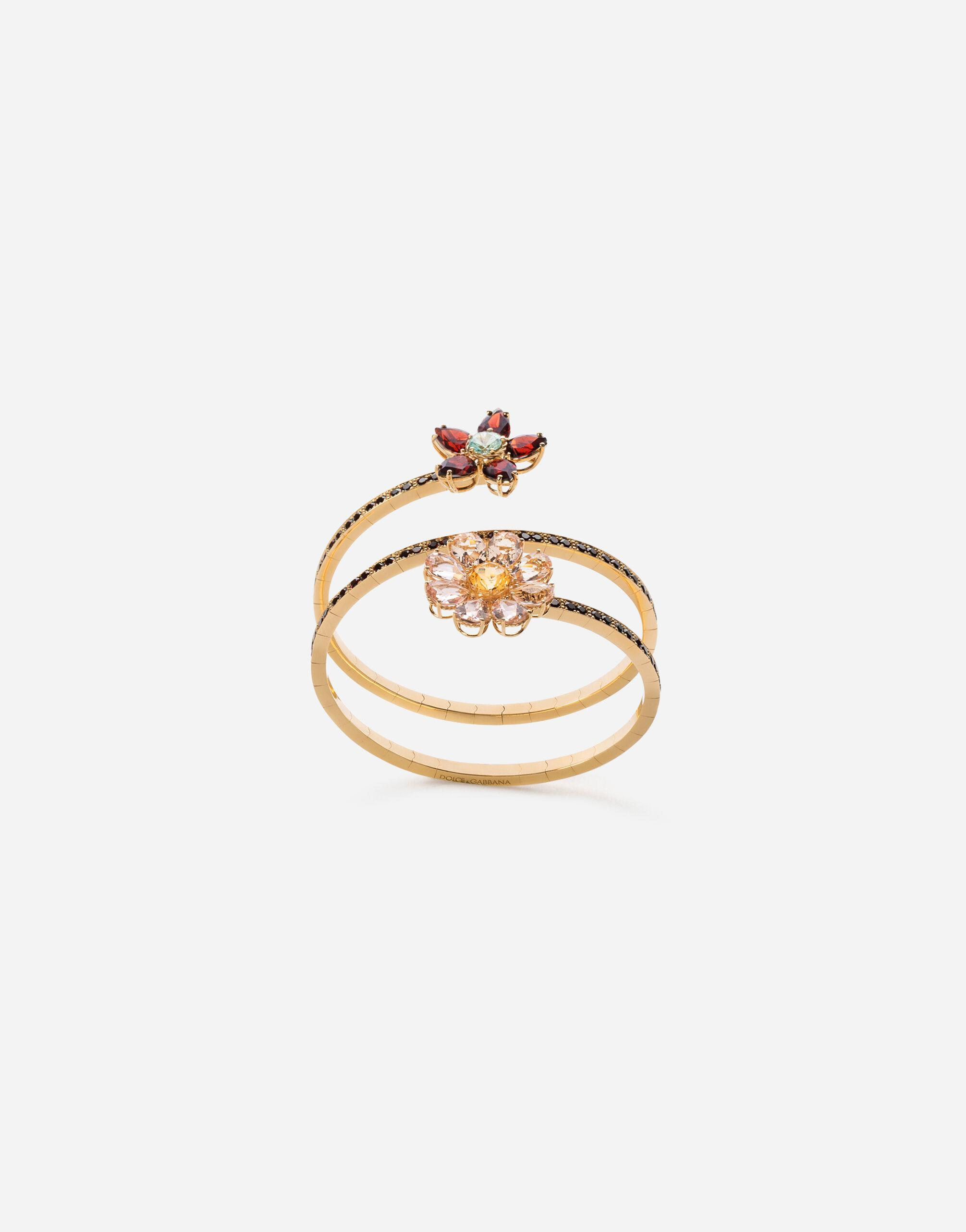 Spring yellow gold bracelet with floral decorations