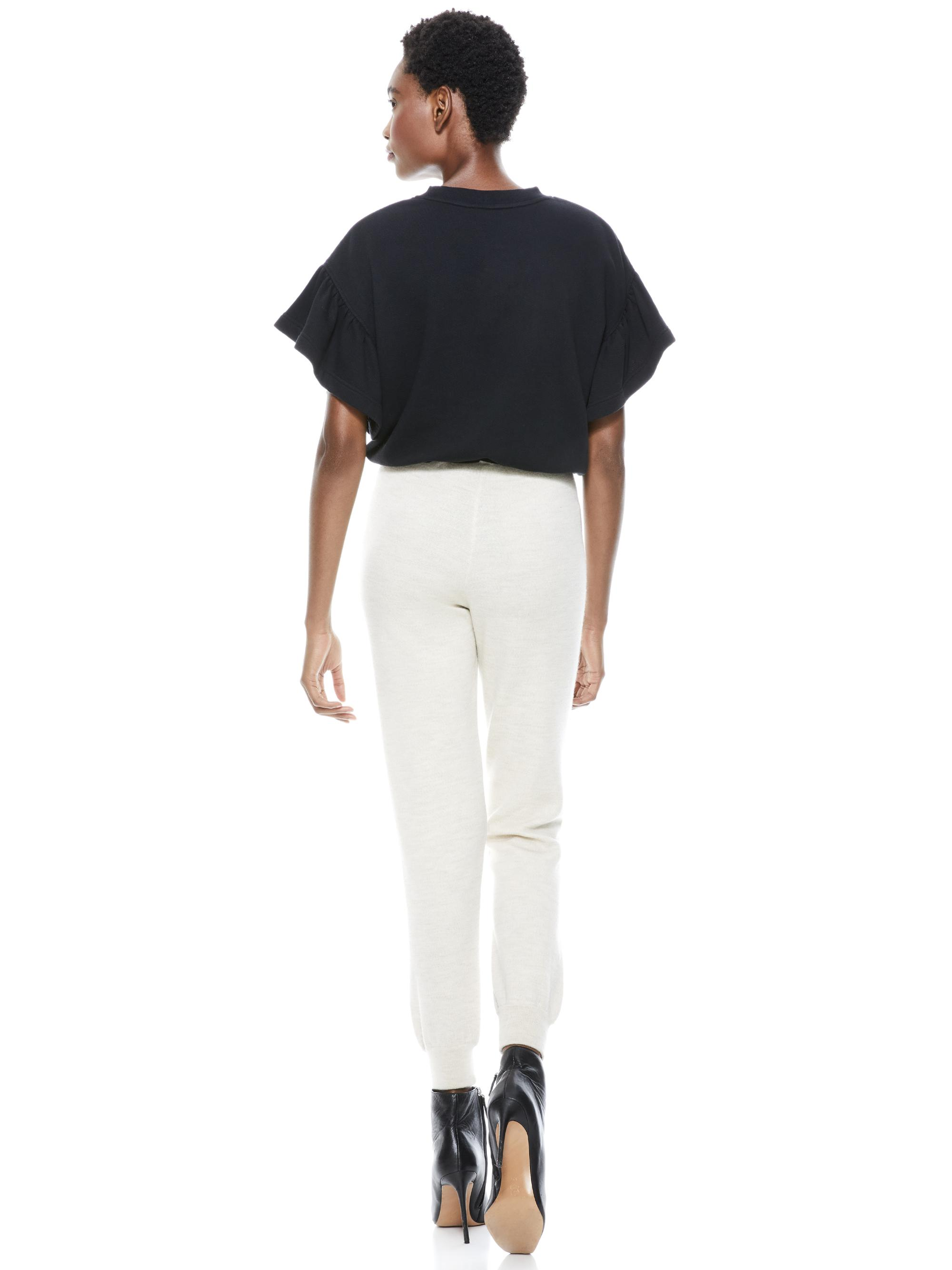 JOLINE RUFFLE SLEEVE CROPPED PULLOVER 1