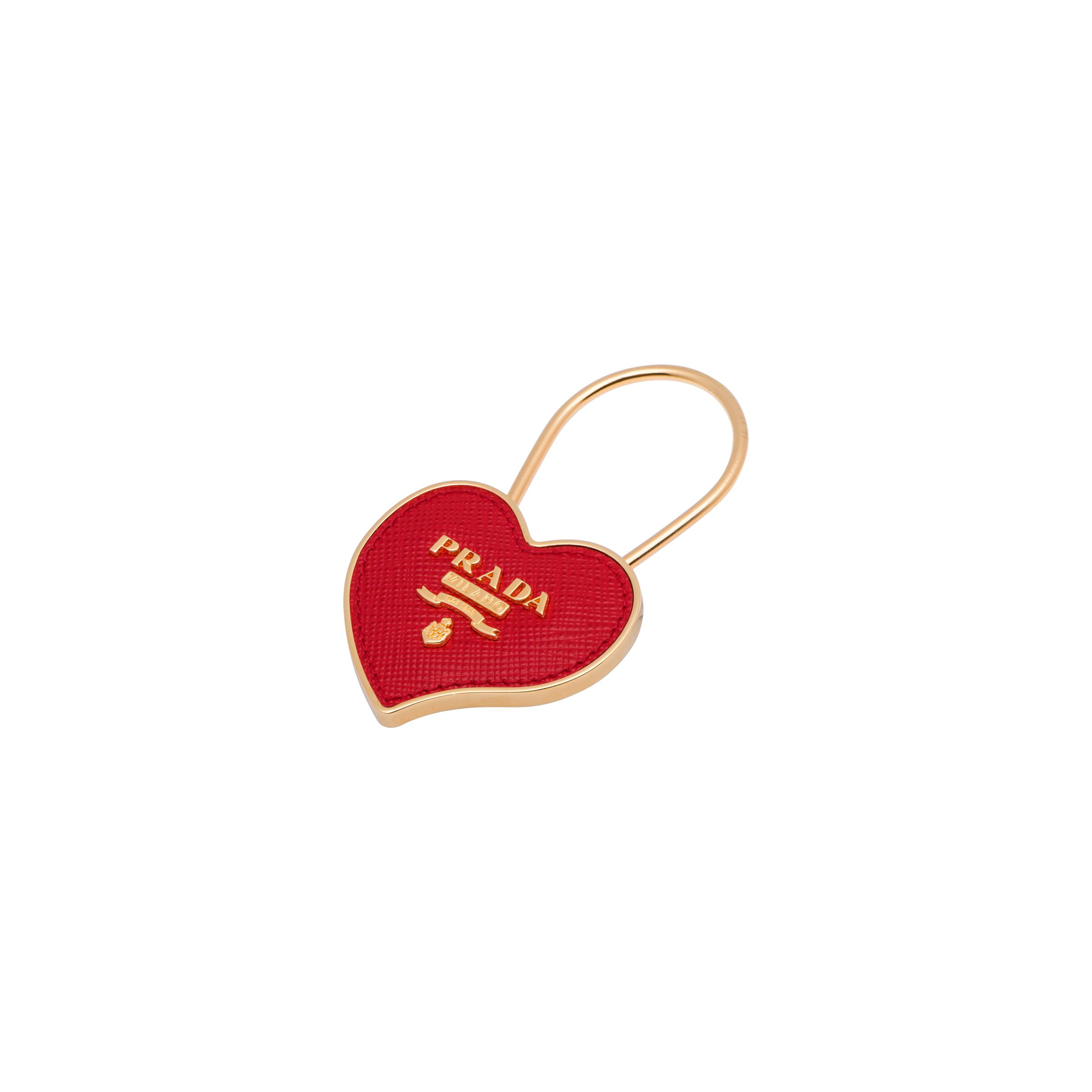 Metal And Saffiano Leather Keychain Women Fiery Red 1