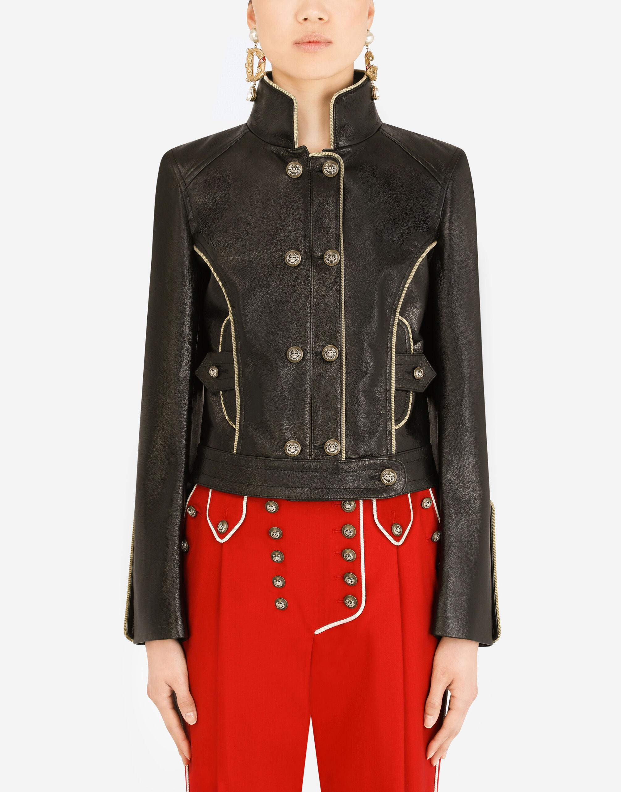 Leather biker jacket with heraldic buttons