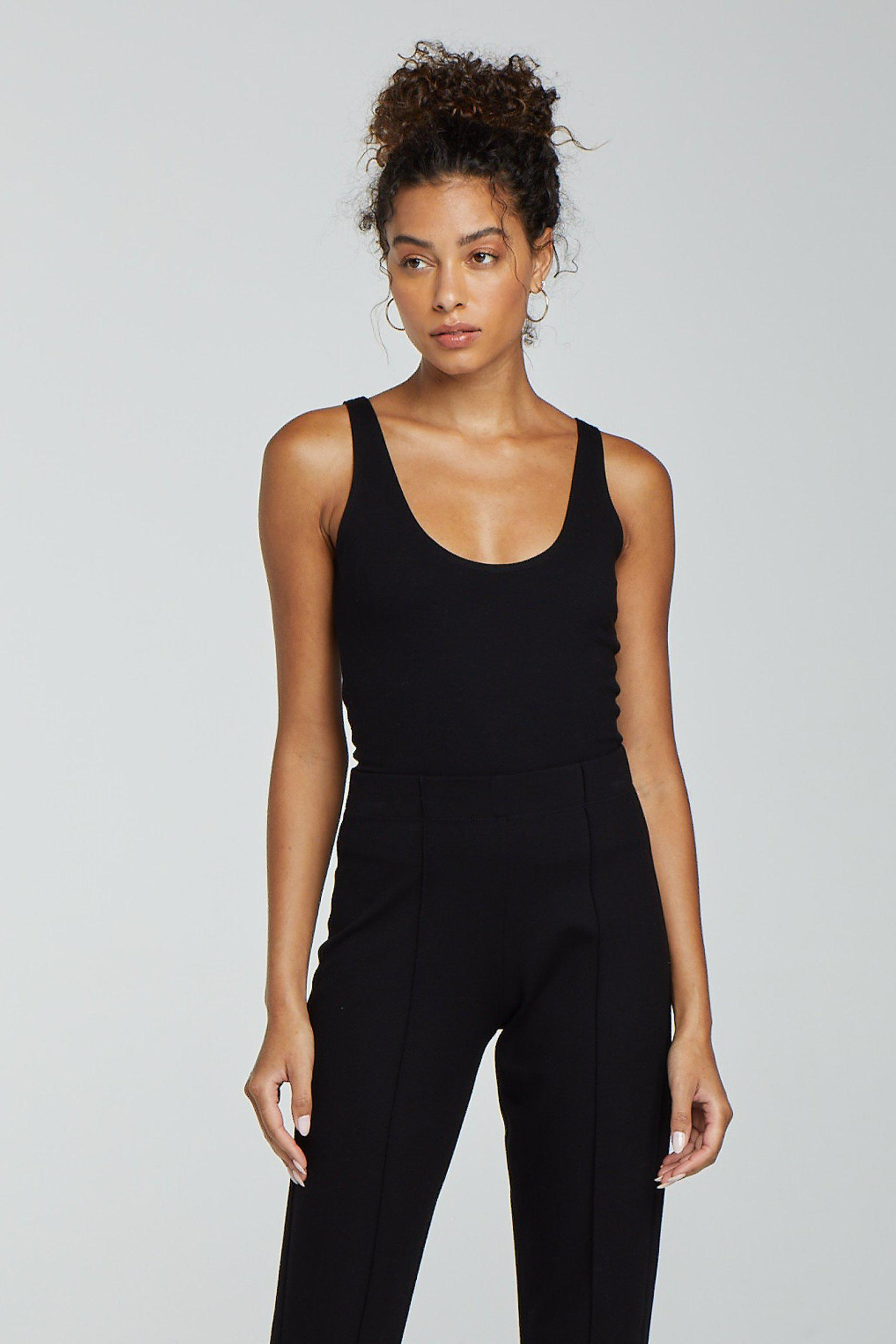 Rio Fitted Scoop Neck Tank - Black