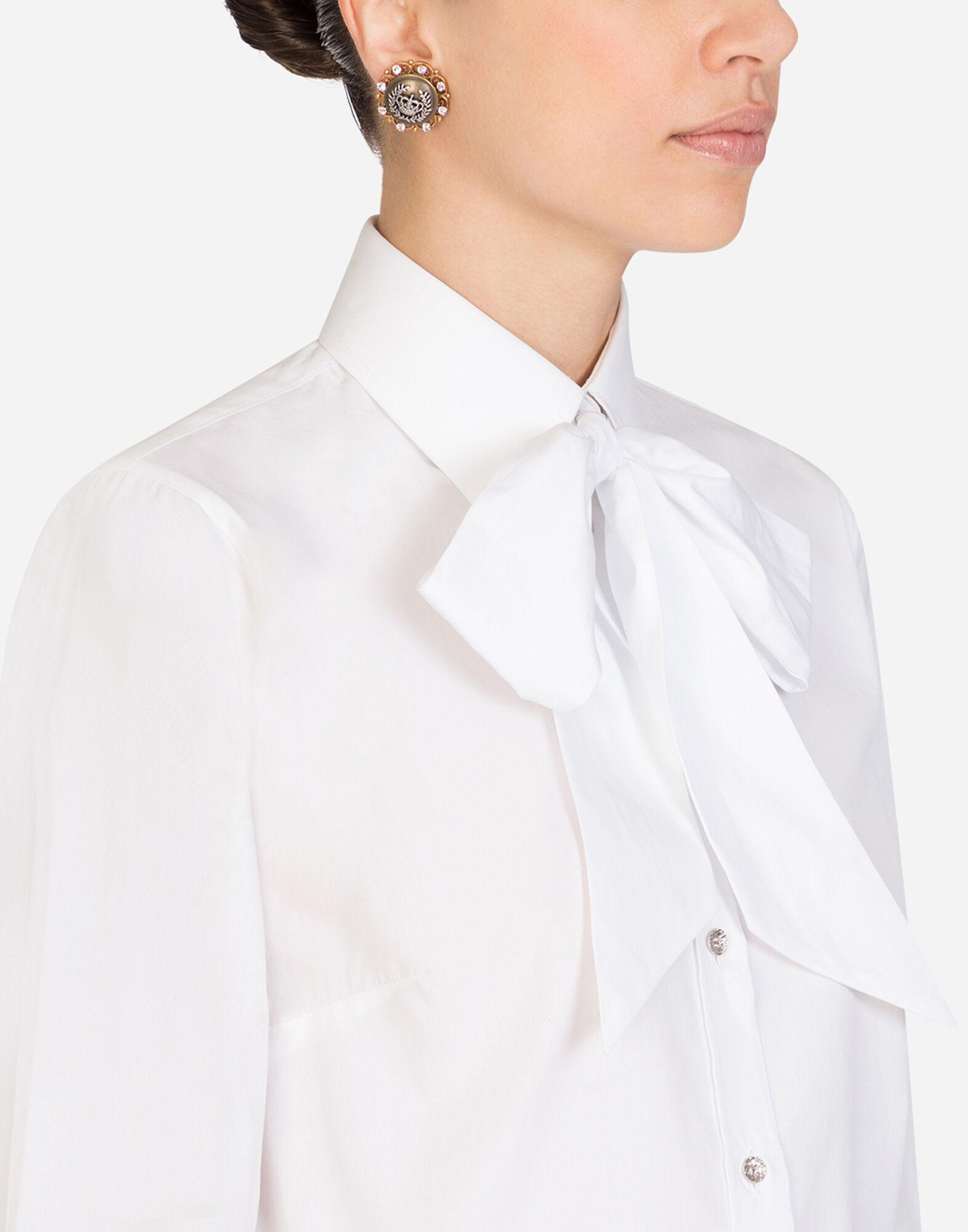 Poplin shirt with pussy bow 4