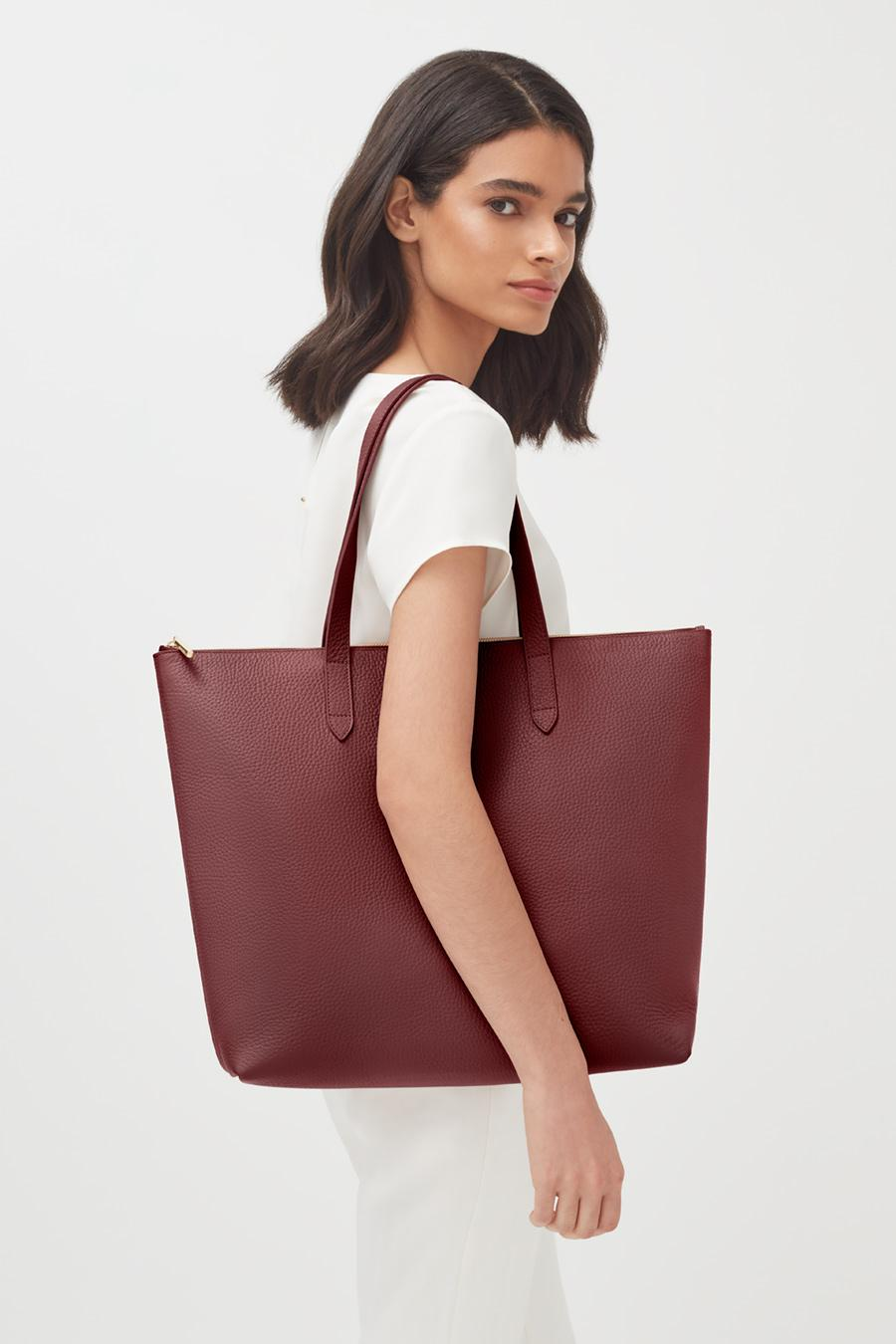 Women's Classic Leather Zipper Tote Bag in Merlot Painted | Pebbled Leather by Cuyana 4