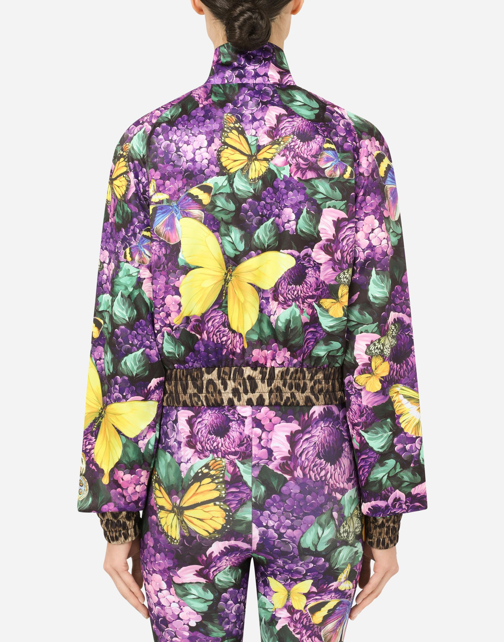 Cropped butterfly-print bomber jacket 5