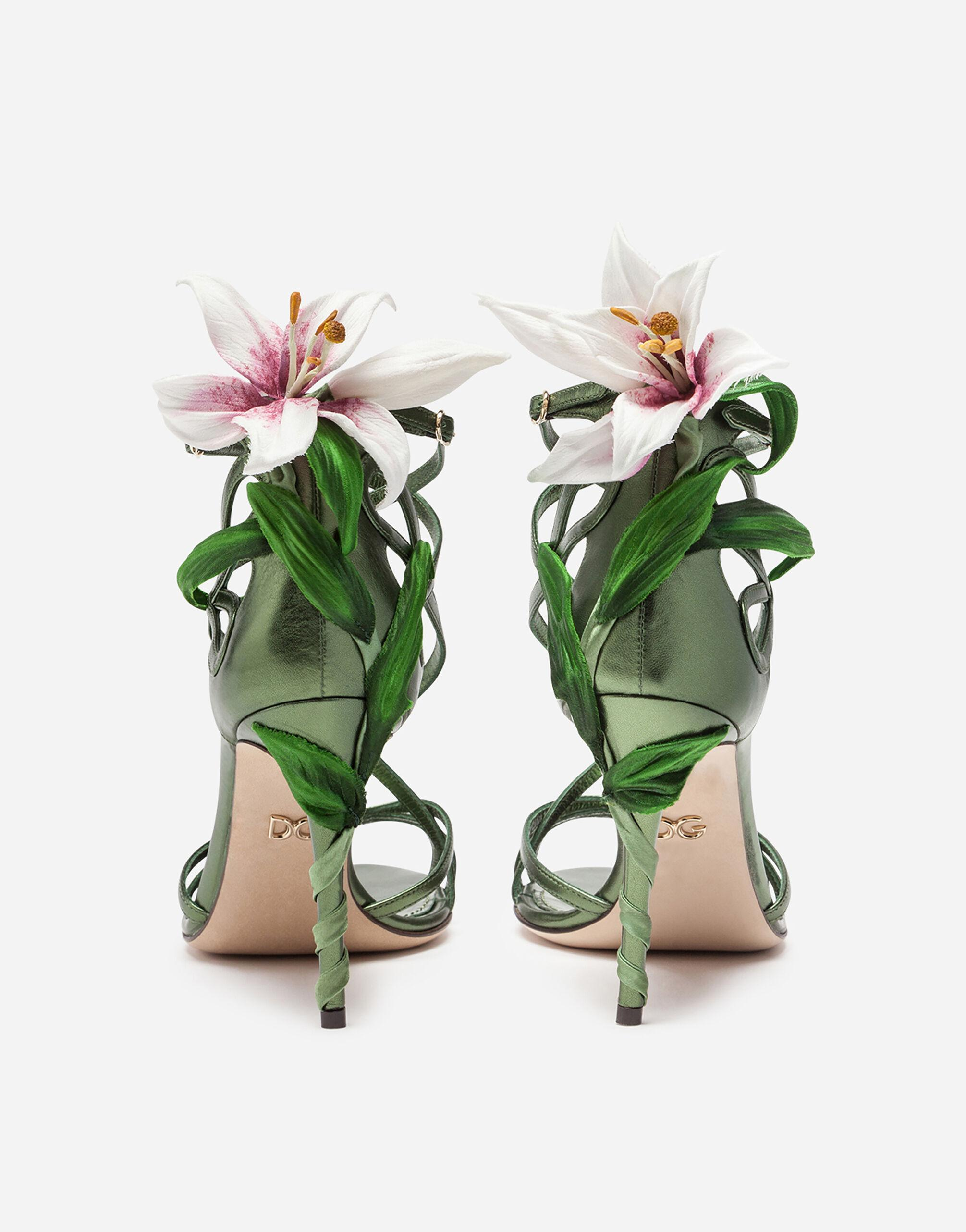 Mordore nappa sandals with lily embroidery 2