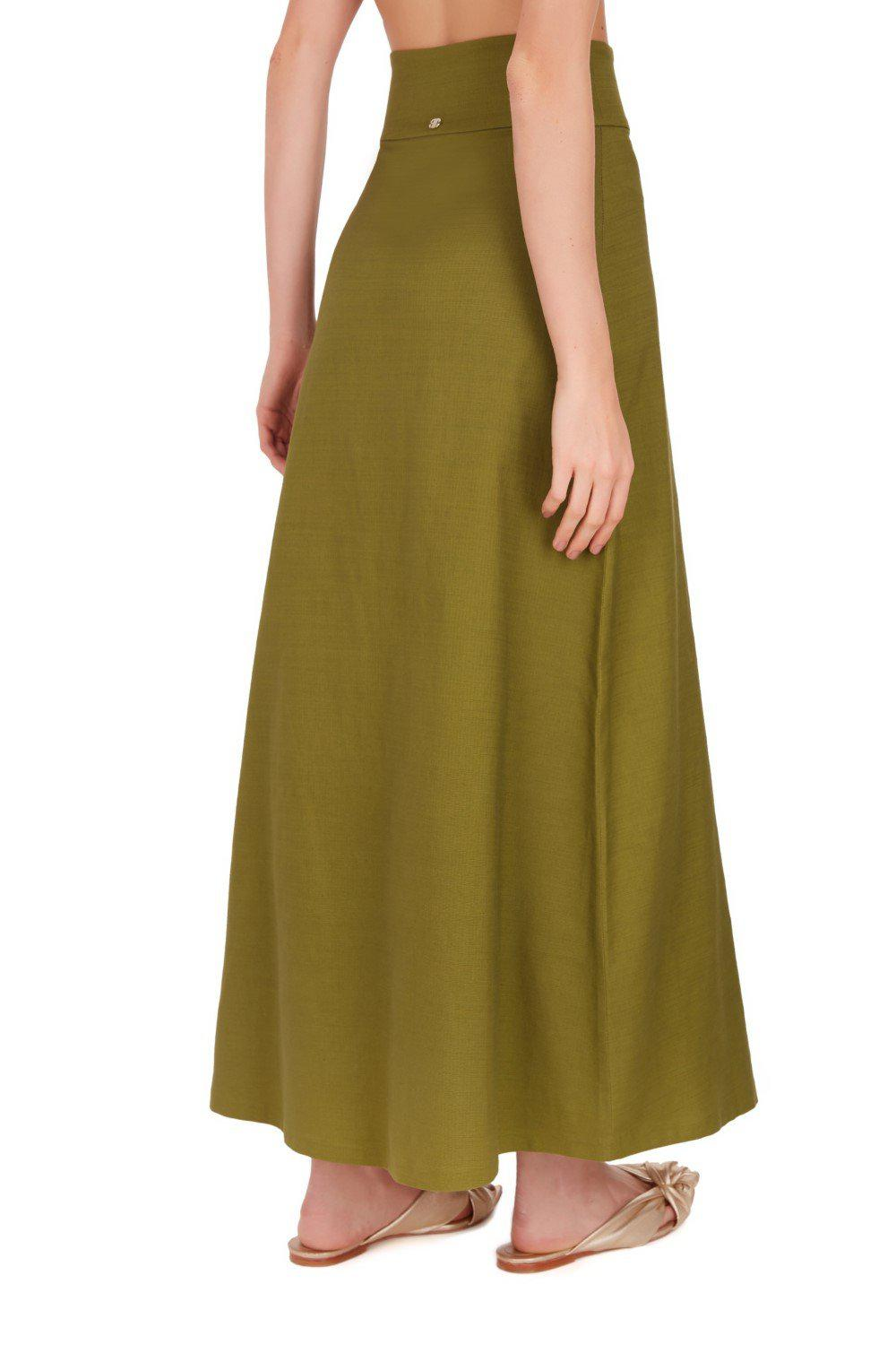Safari Solid Long Skirt with Buttons 2