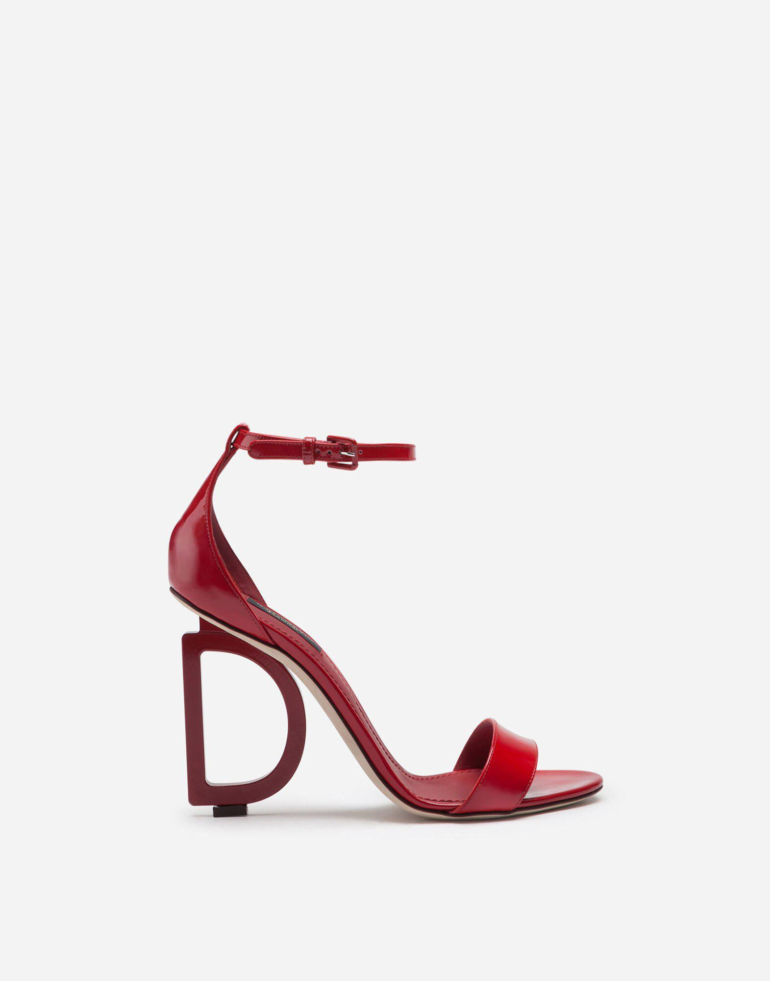 Patent leather sandals with DG heel