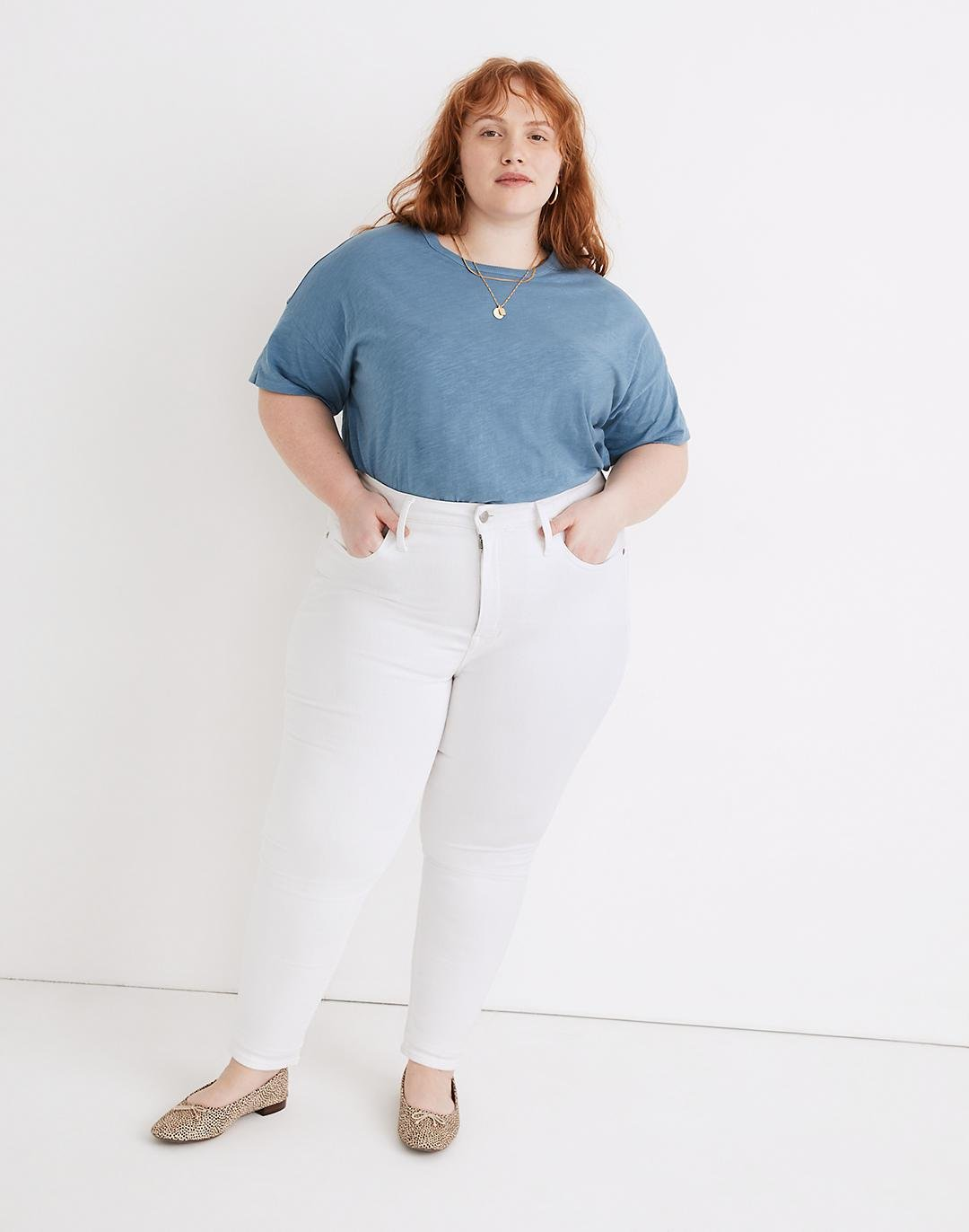 Plus High-Rise Skinny Jeans in Pure White