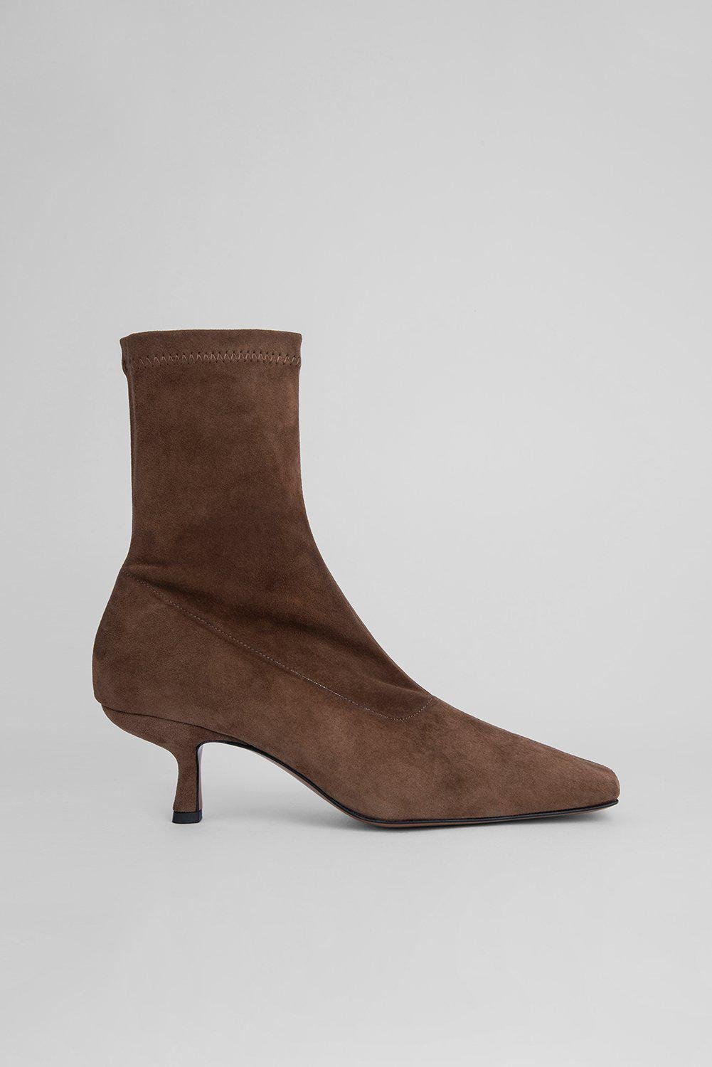 Audrey Wood Stretch Suede Leather