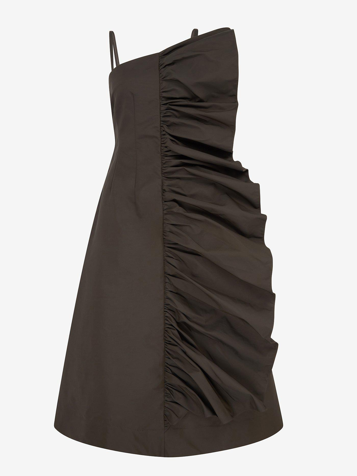 Tuck Frill Detail Strappy Dress (Moss) 1