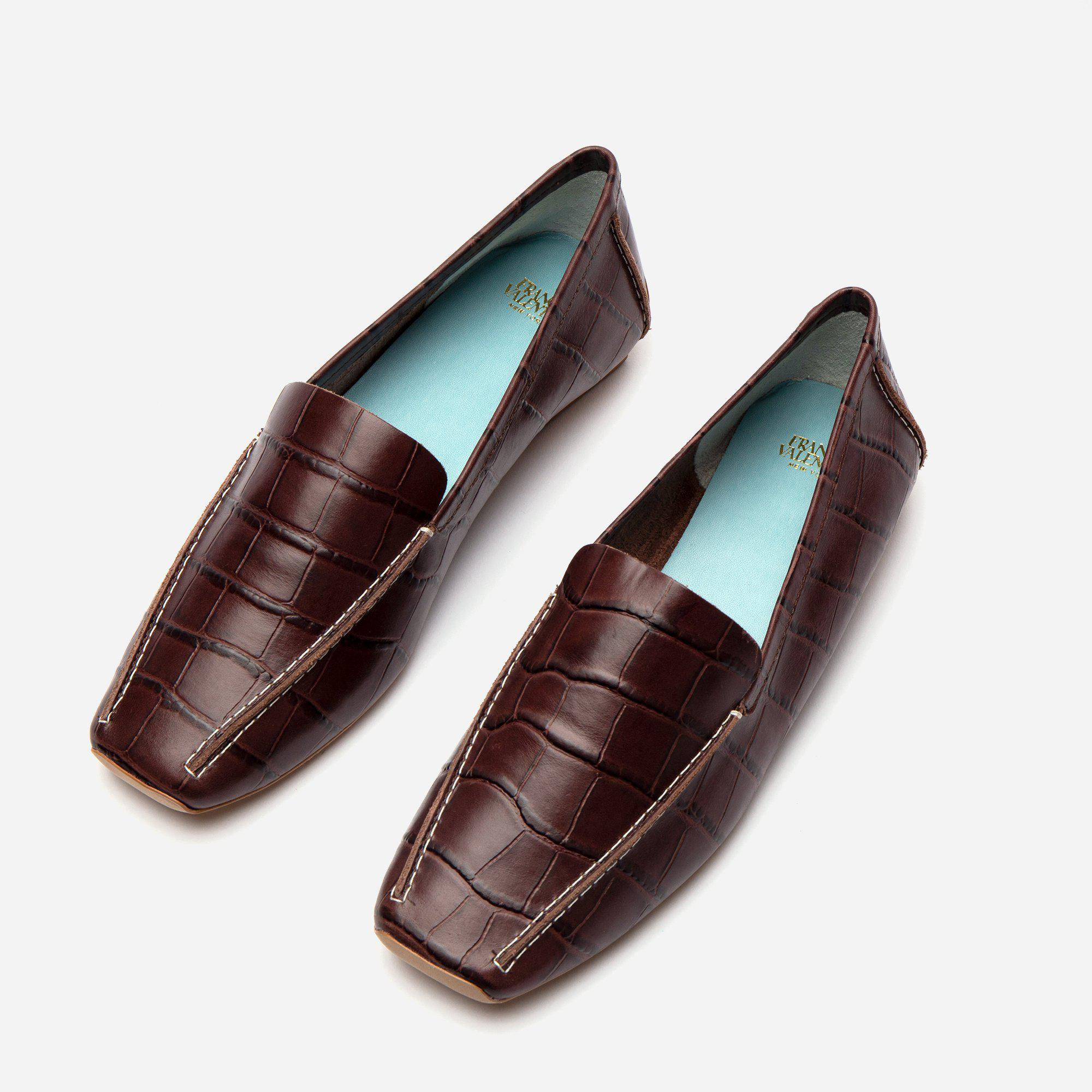 Elyce Loafer Croc Embossed Chocolate 2