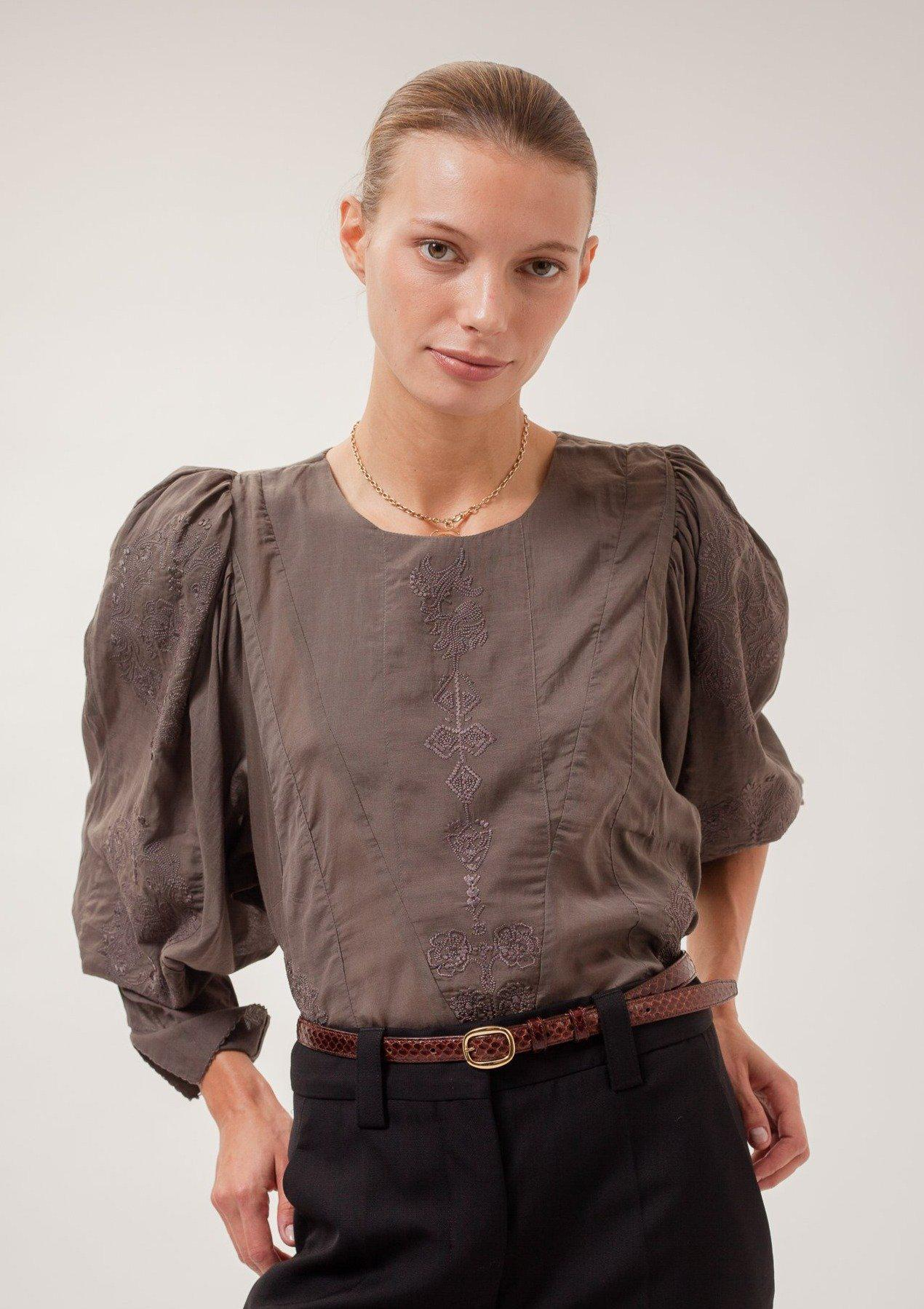 Embroidered Namid Blouse Grey