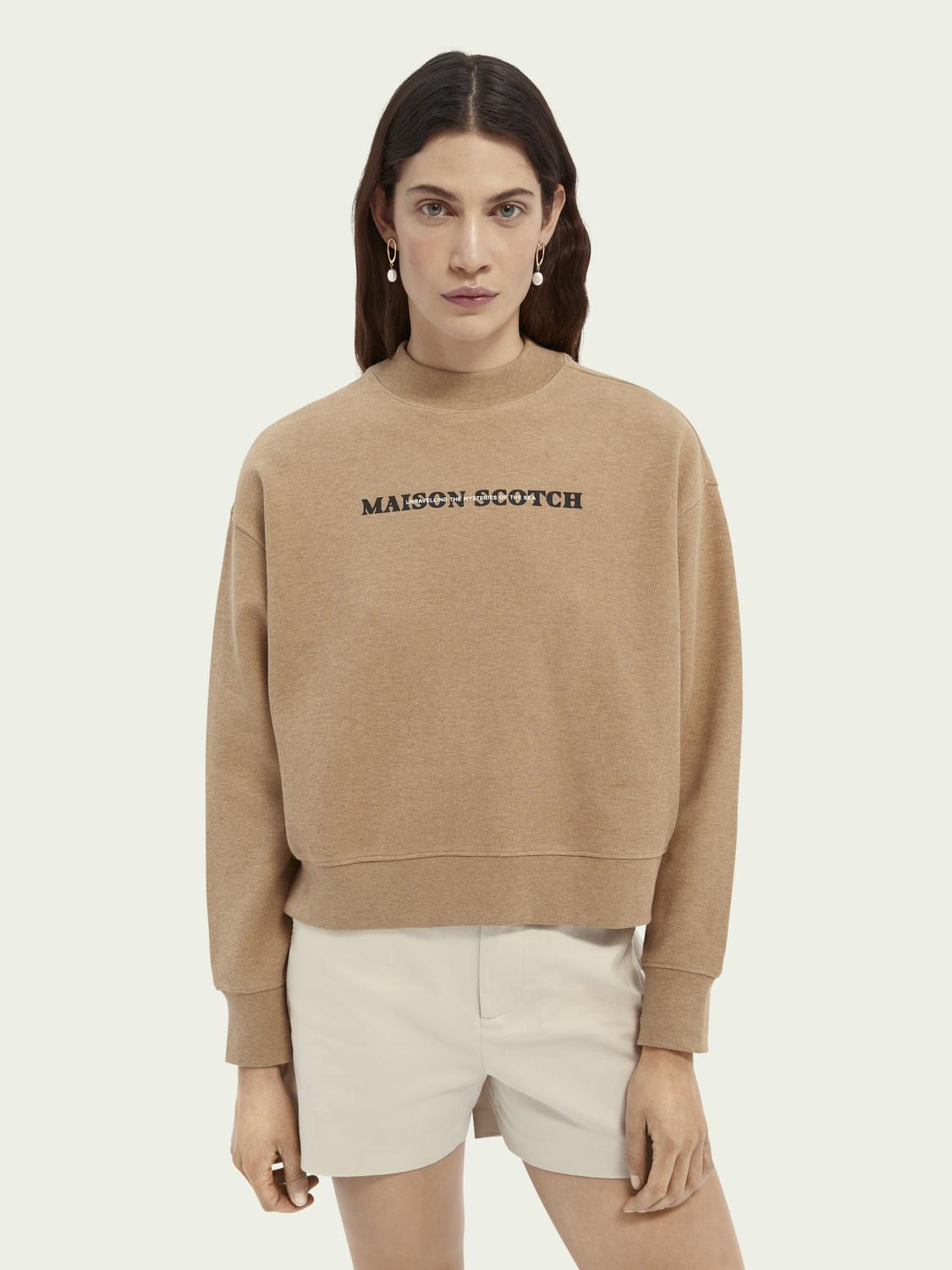Relaxed fit high neck graphic sweater