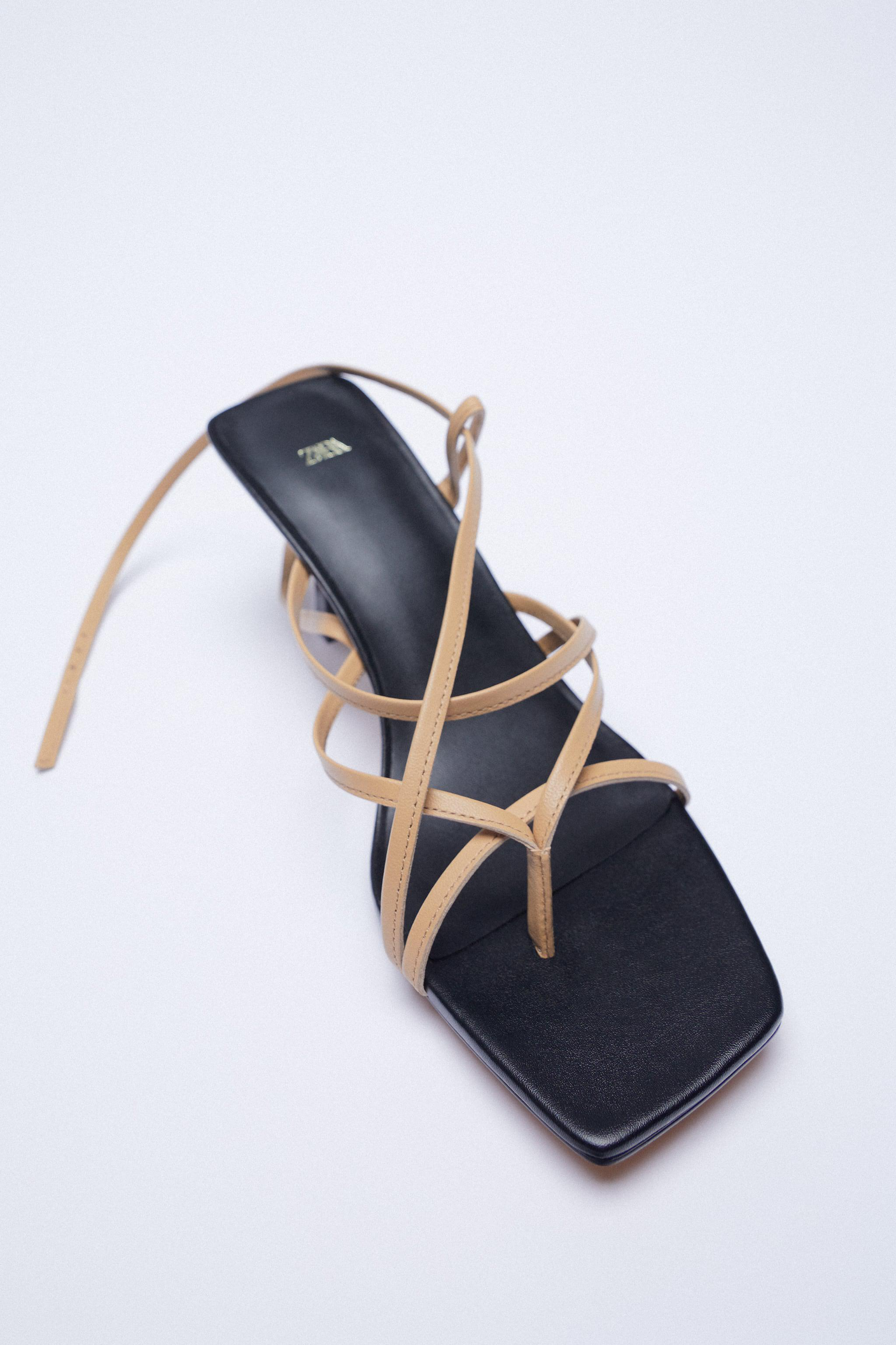 LEATHER HIGH HEELED STRAPPY SANDALS 5