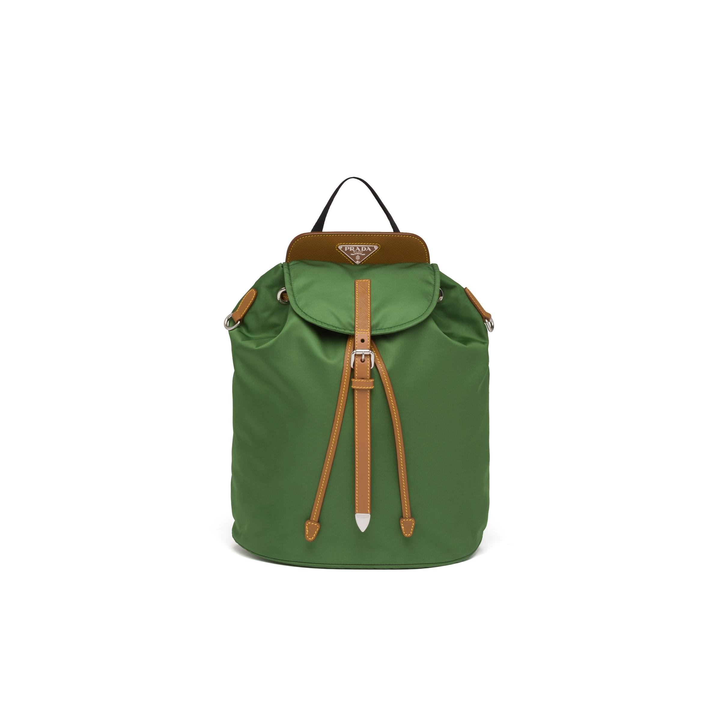 Nylon And Saffiano Leather Backpack Women Larch Green/caramel