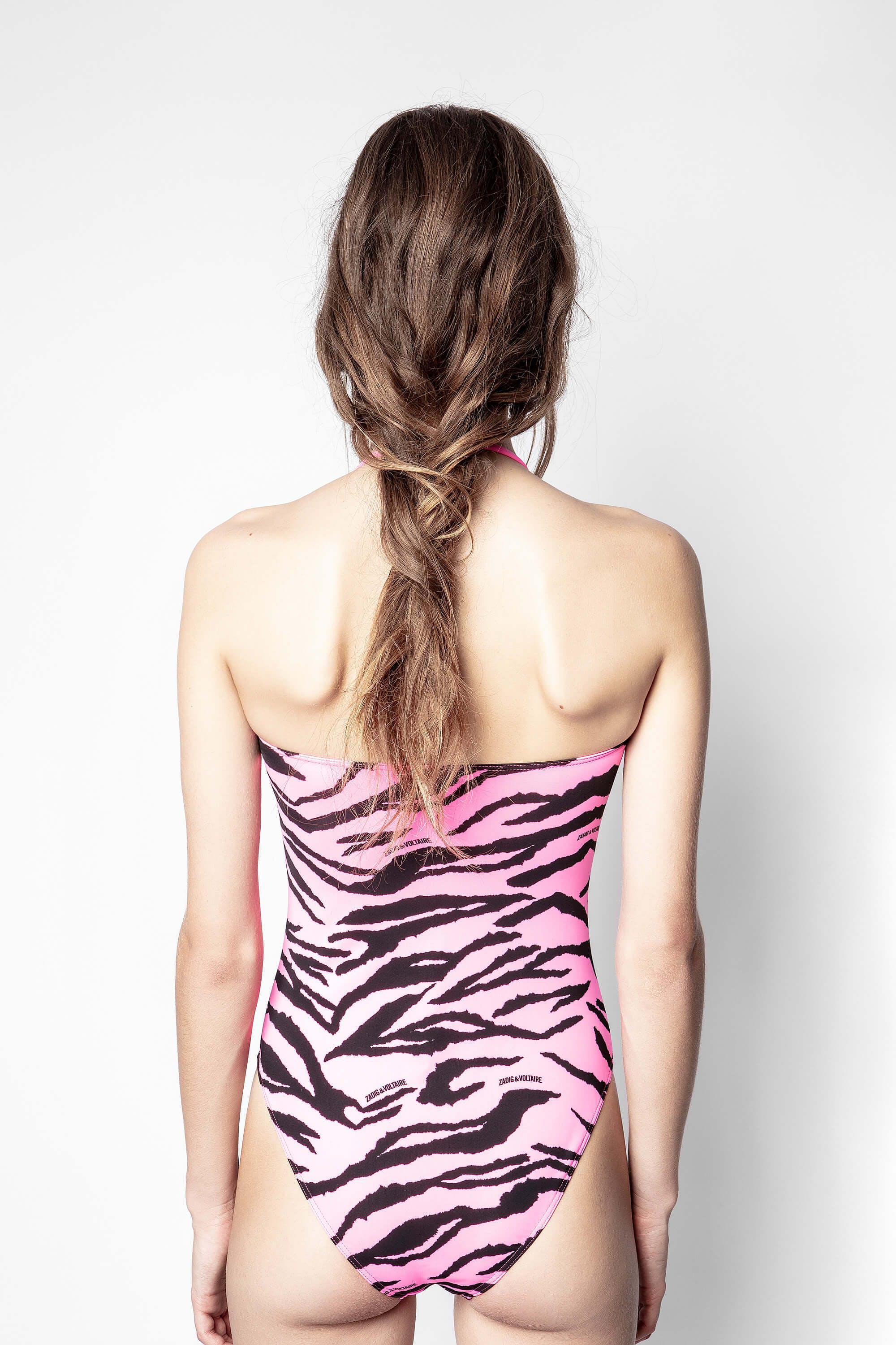 Pink Tiger Print One Piece Swimsuit 2