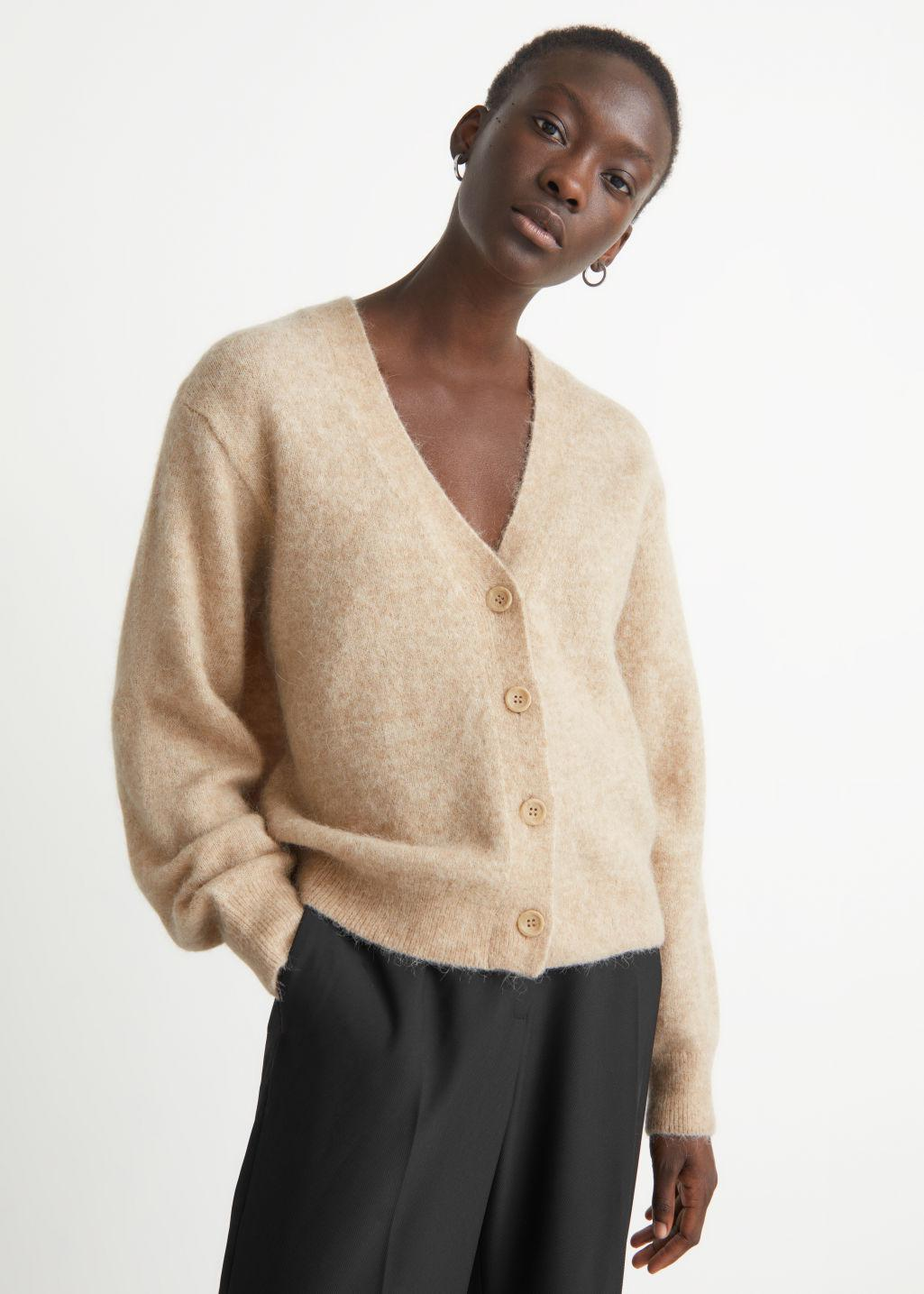 Relaxed Wool Knit Cardigan