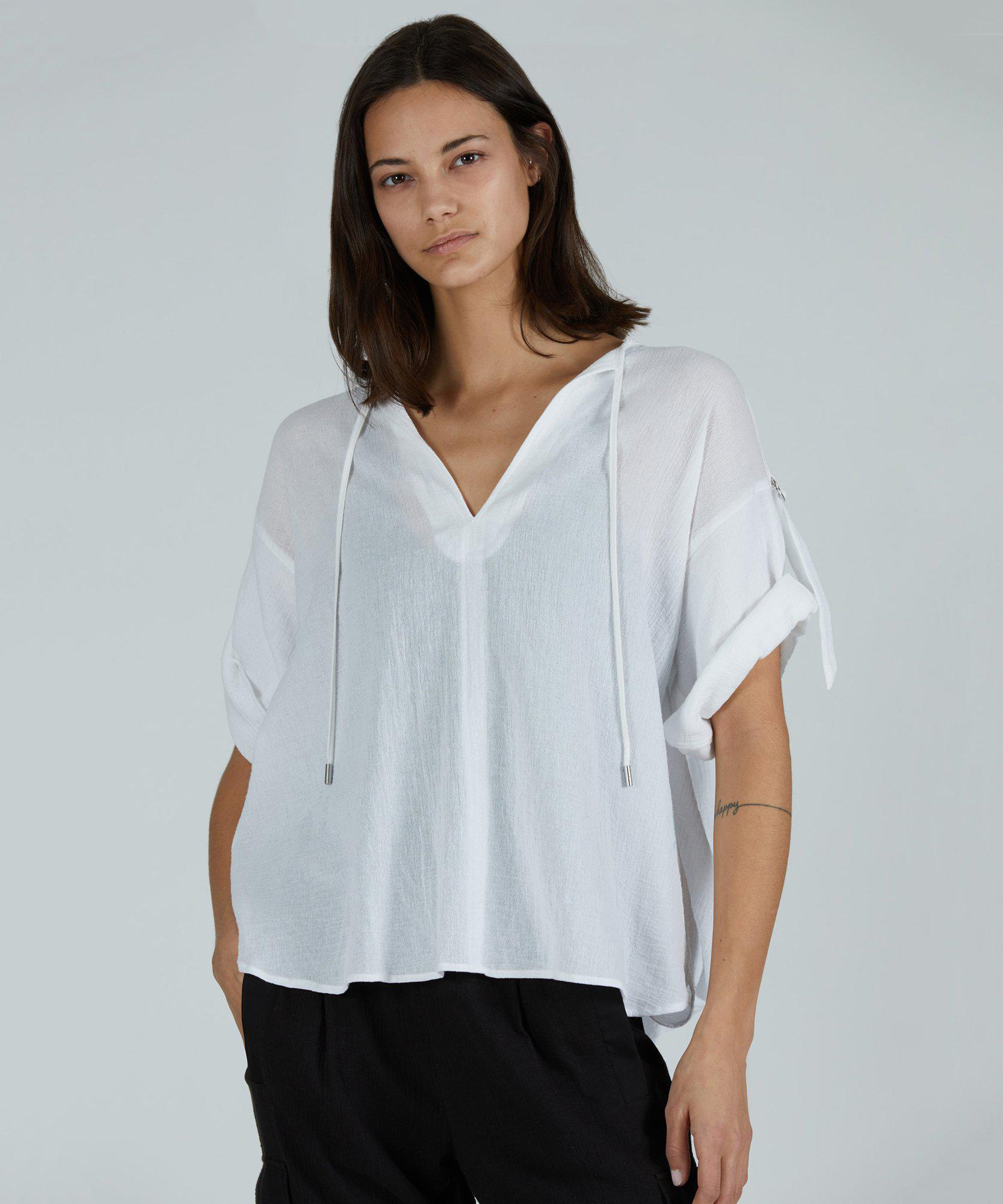 Cotton Gauze Rolled Sleeve Top - White