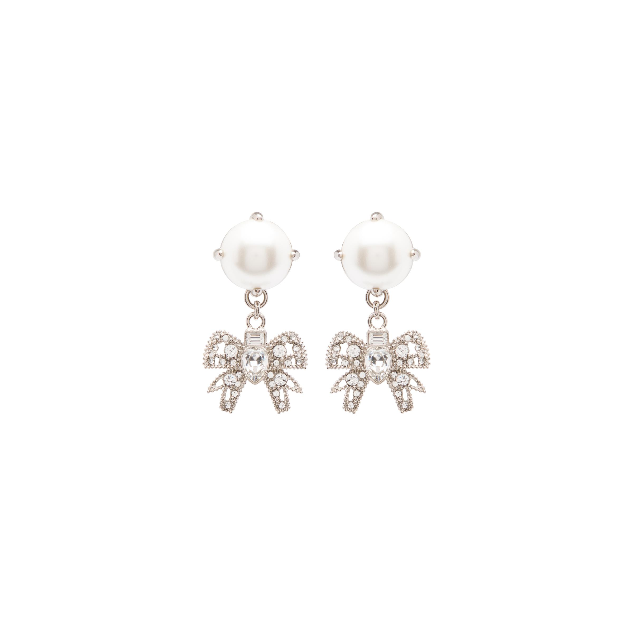 Pendant Earrings With Crystals And Pearls Women Cream/cristal