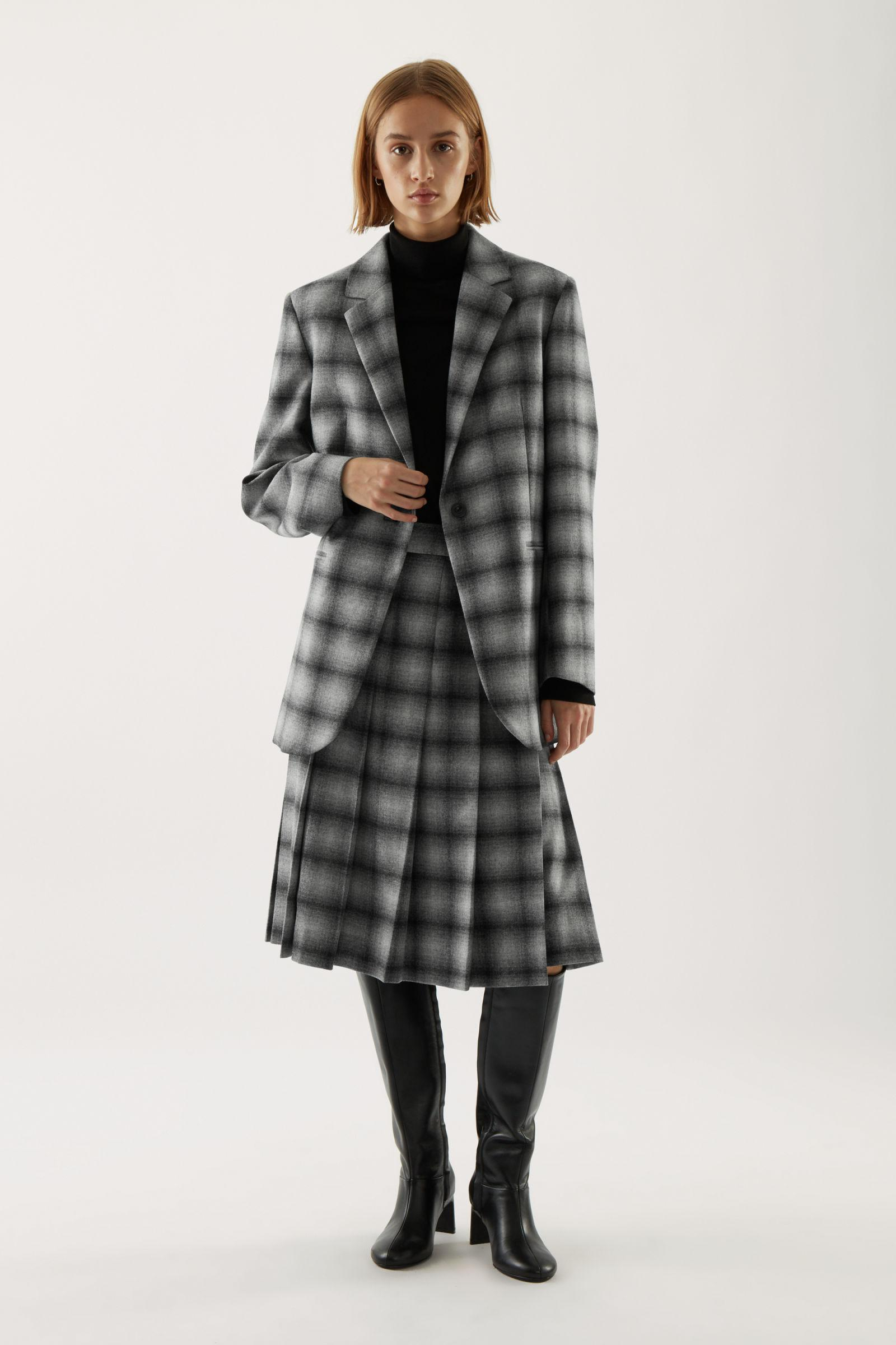 CHECKED PLEATED RECYCLED WOOL SKIRT
