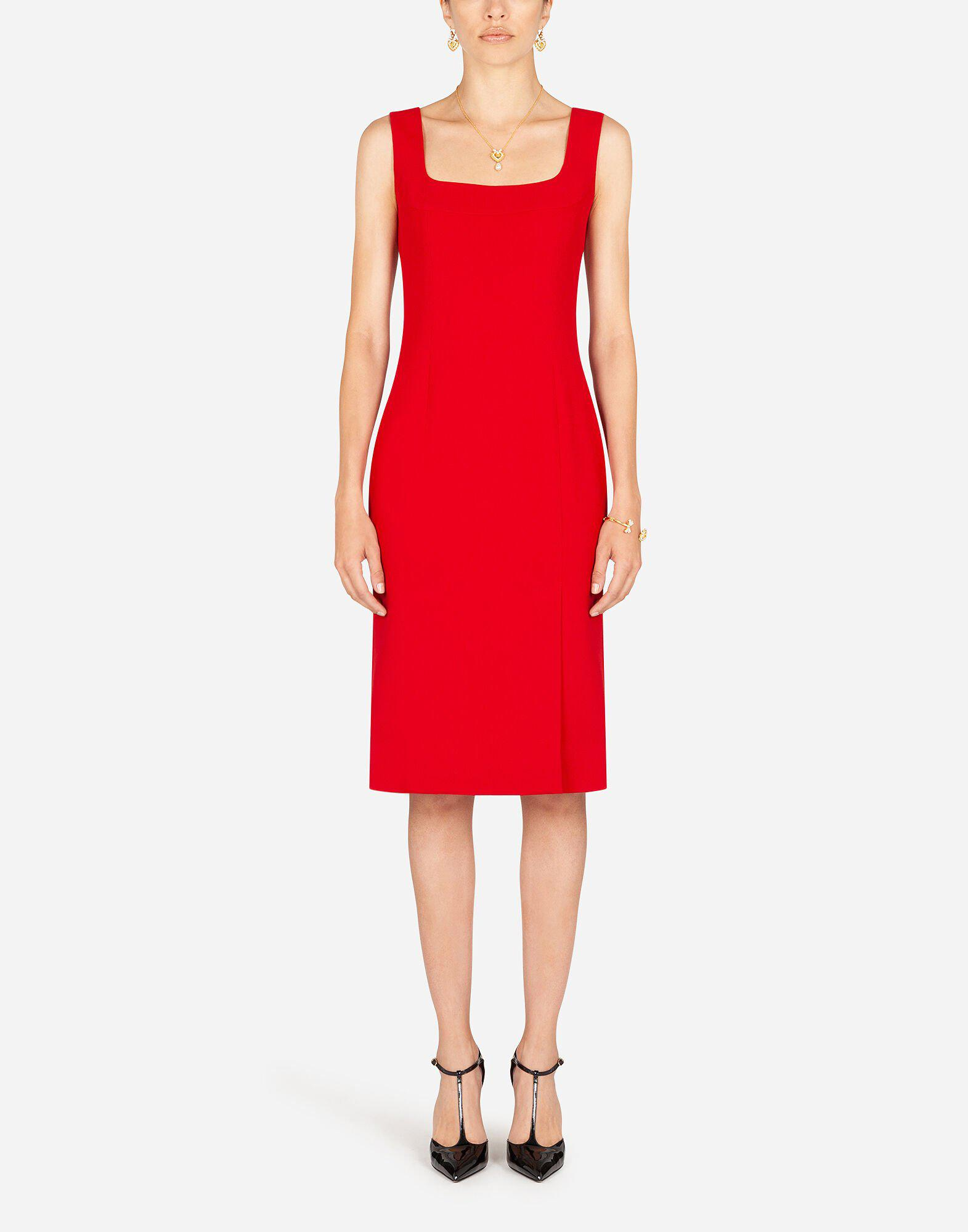 Midi dress in cady fabric with slit