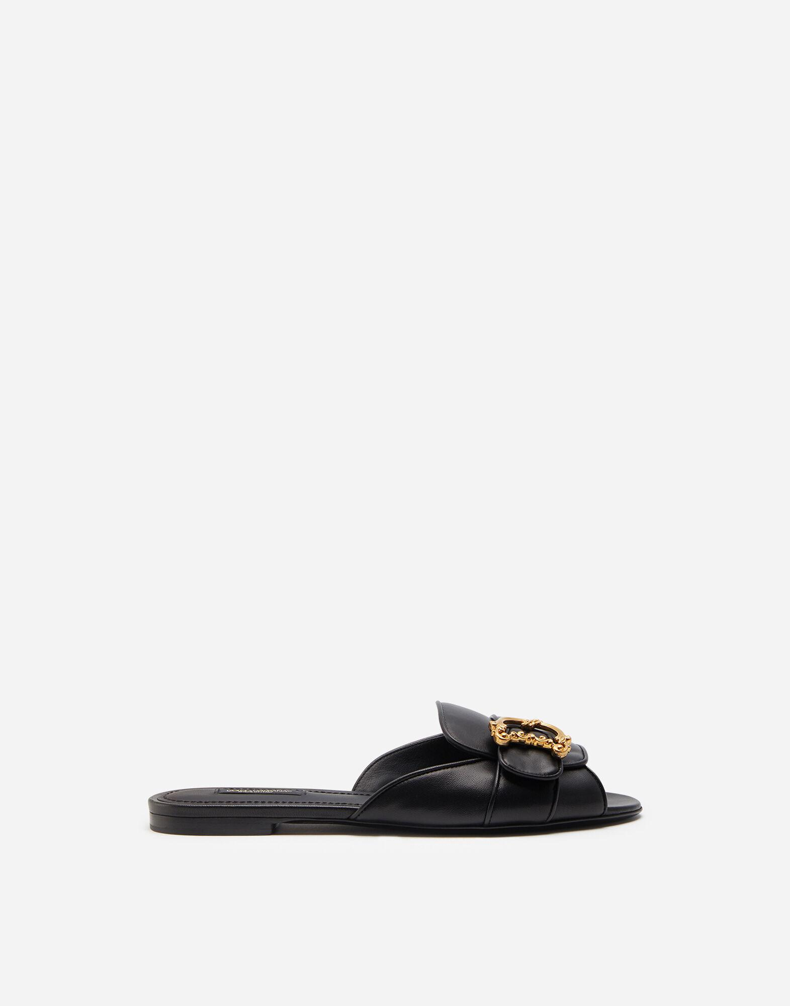 Nappa leather sliders with baroque D&G logo