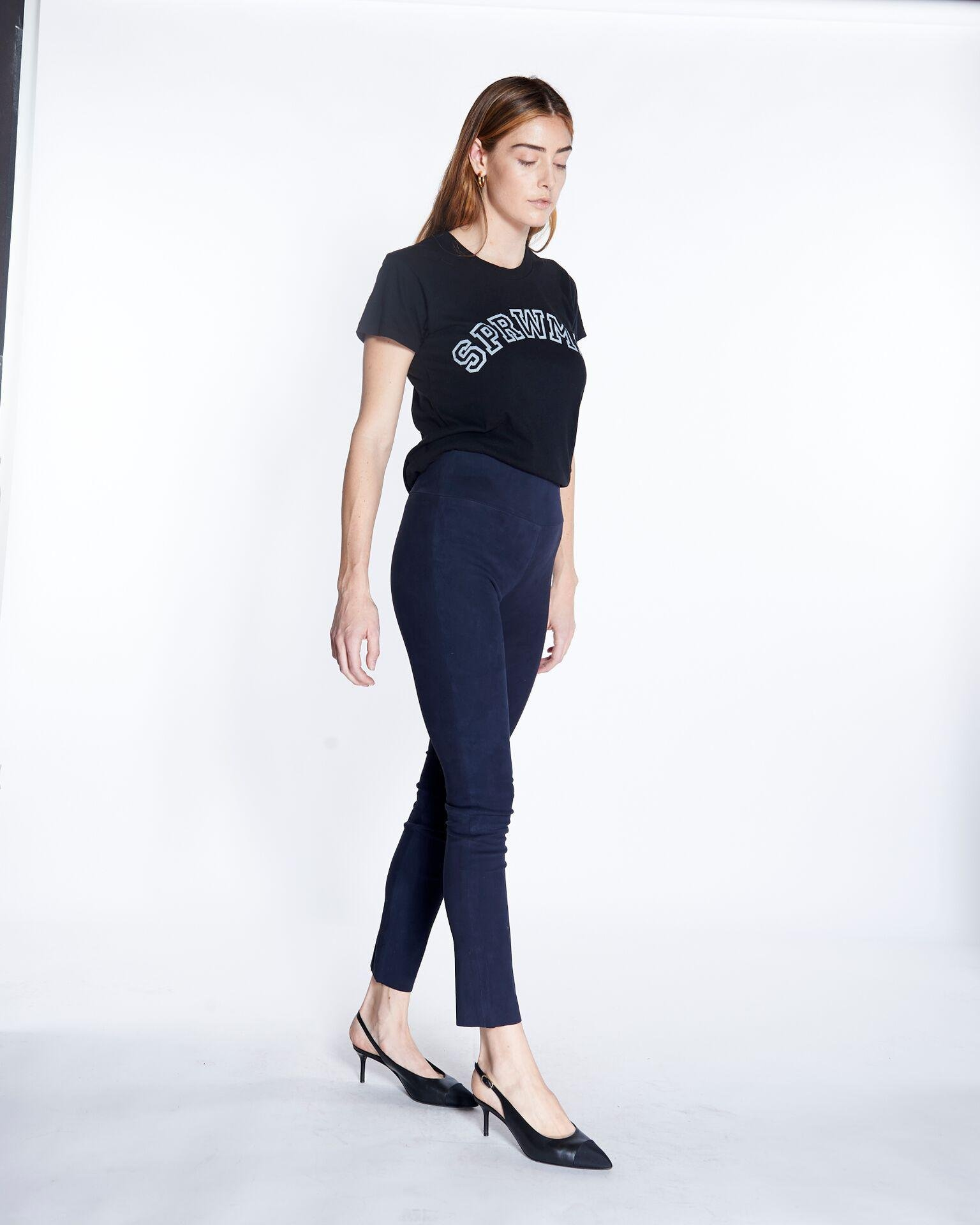 Navy Suede Ankle Legging