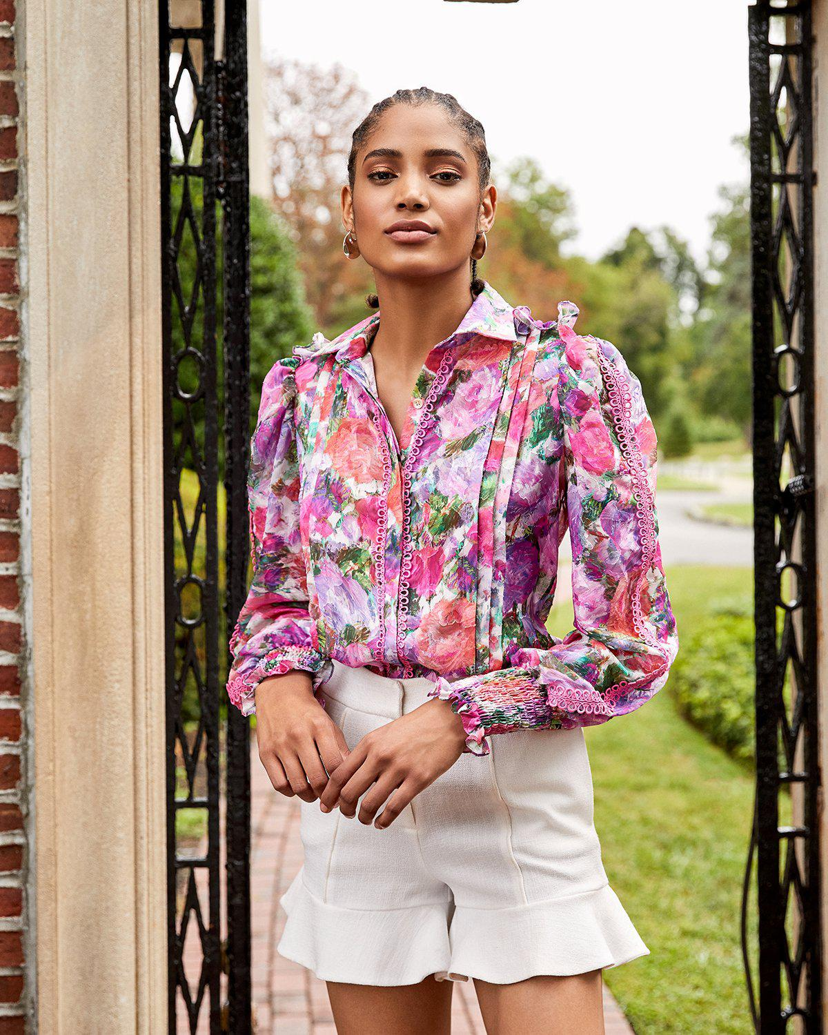 BLOSSOM BUTTON-FRONT BLOUSE