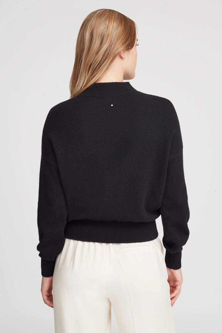 Women's Recycled Mock Neck Sweater in Black | Size: 2