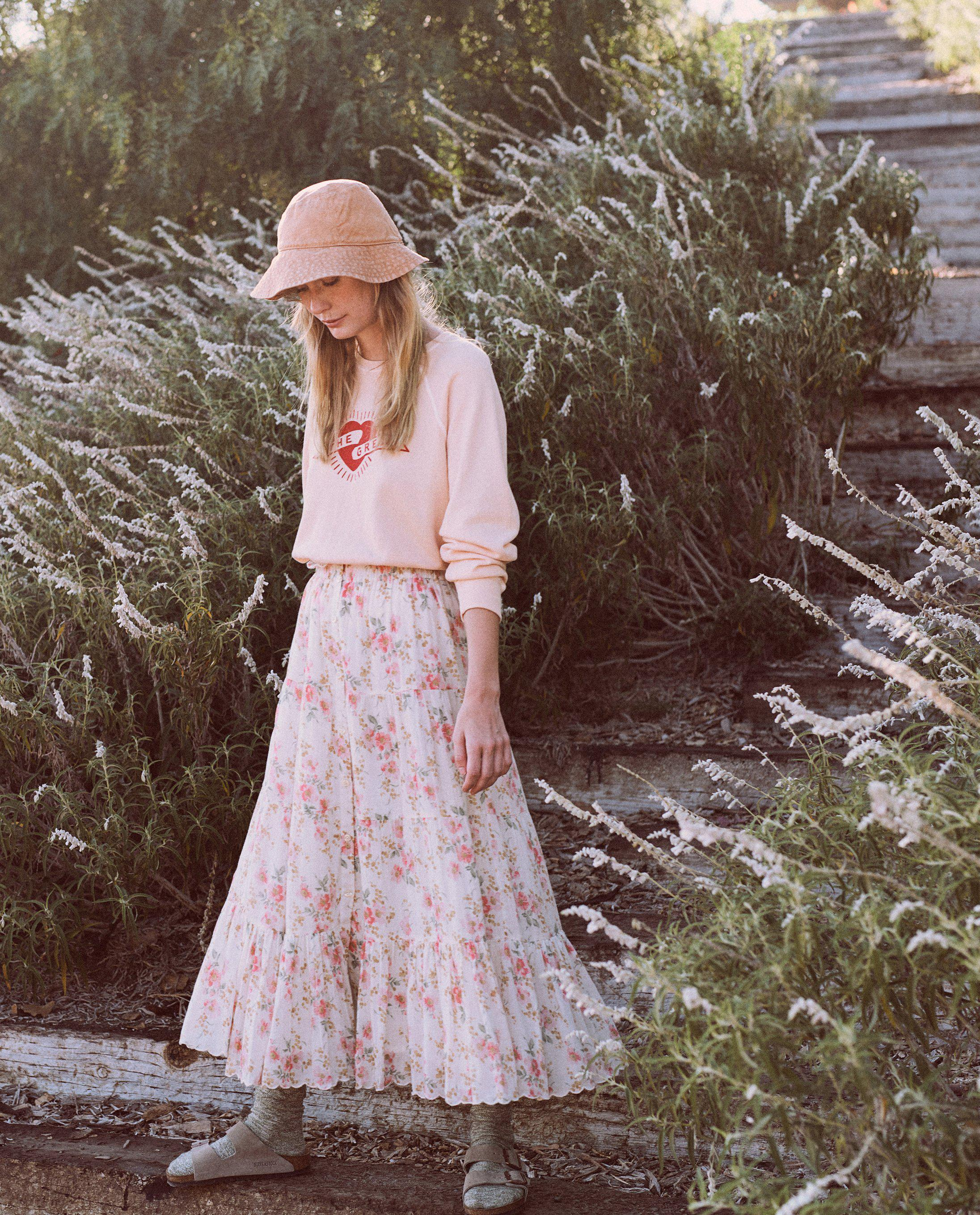 The Button Up Tier Skirt. -- Pink Sweet Pea Floral 1