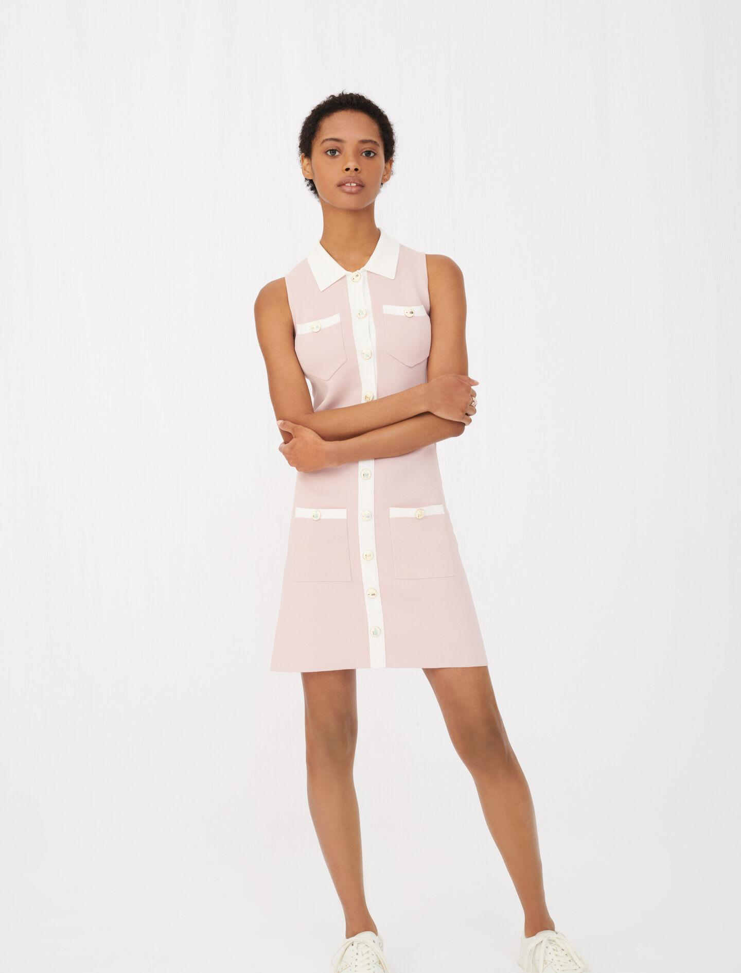 KNIT DRESS WITH CONTRASTING BANDS 2