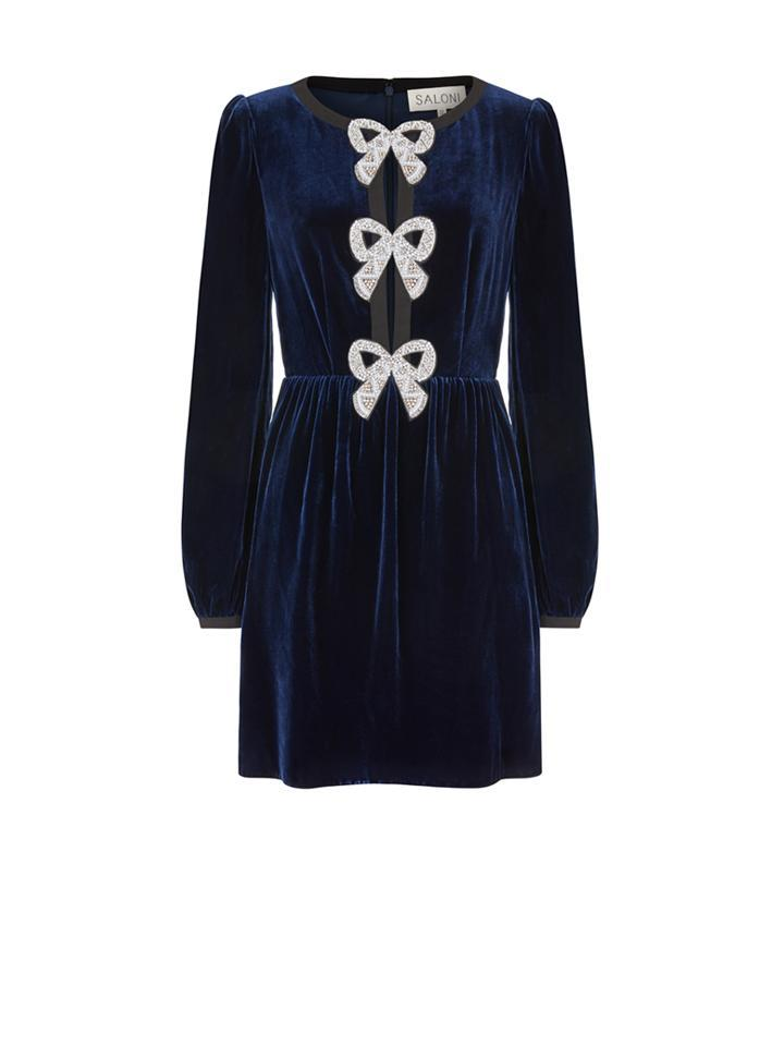 Camille Bows Mini Dress in Navy 3