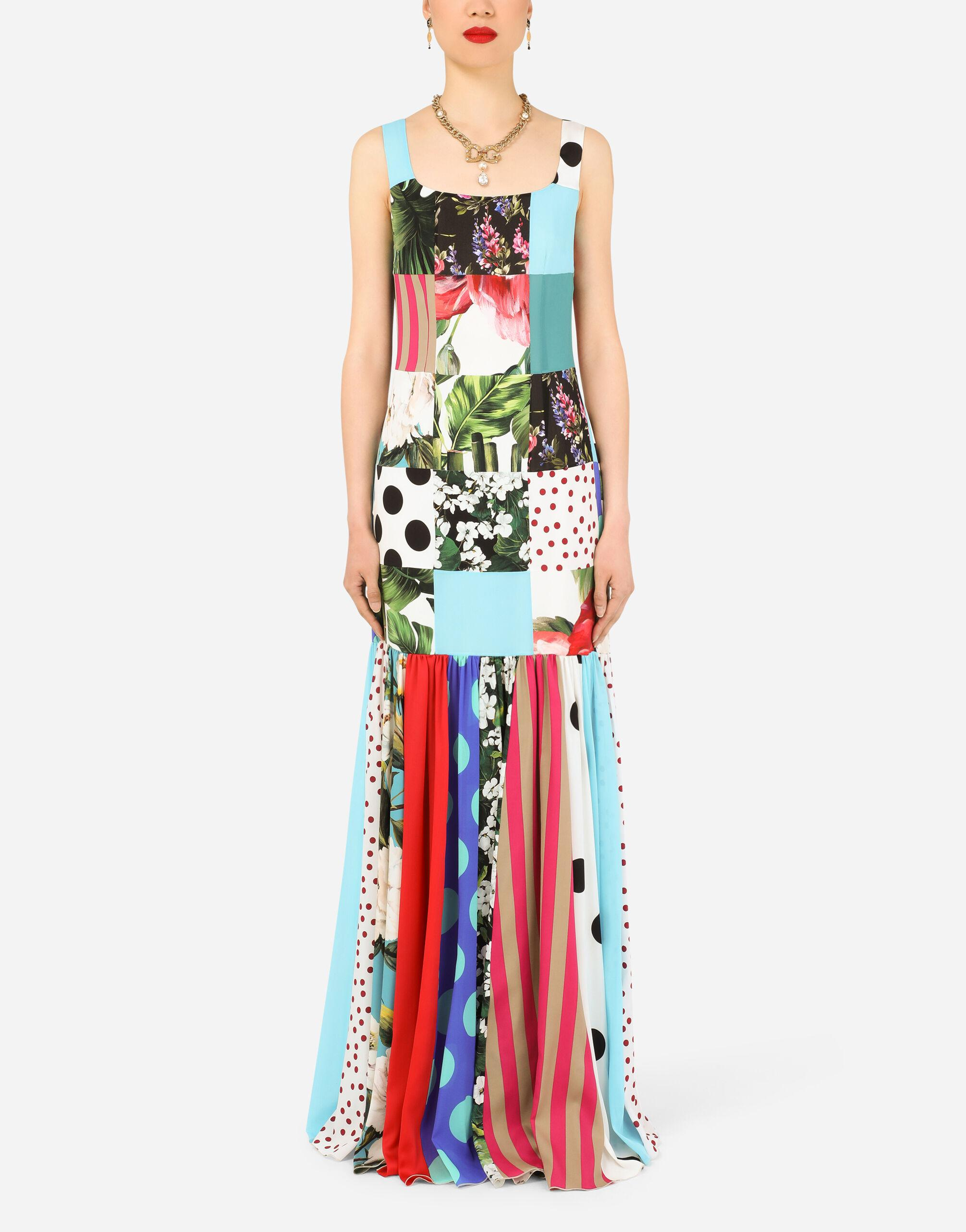 Long patchwork charmeuse and georgette dress